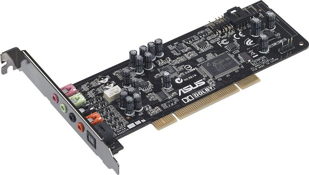 ASUS Xonar DG звуковая картаXONAR DGВ звуковой карте Asus Xonar DG реализован встроенный усилитель наушников, технология Dolby Headphone 5.1 и эксклюзивный обработчик аудиоэффектов GX 2.5. Все это обеспечивает четкое и детальное звучание с точным позиционированием источников звука в пространстве, что делает Xonar DG идеальной картой для геймеров.Три режима усиления для различных приложений:Режим VoIP. Предназначен для голосового общения по сети.Геймерский режим. Улучшает пространственное позиционирование источников звука.Музыкальный режим. Обеспечивает более мощный бас и глубину звуковой сцены. Продвинутая технология Dolby Headphone предназначена для создания эффекта объемного звучания в ваших стереонаушниках.Автоматическое переназначение аудиовыходовВывод звука автоматически переключается с разъемов задней панели компьютера на разъемы передней панели при подключении наушников.Тип звука: 5.1Поддержка API: DirectSound, DirectSound 3D, EAX2.0, A3D, OpenAL, GX 2.5 ЦАП: 24 бит/96 кГц (Cirrus Logic CS4245 + Cirrus Logic CS4361) THD+N 0.0025% (-92дБ) (все выходы); 0.0022% (-93дБ) (все входы)Частота дискретизации: 44.1 кГц, 48 кГц, 96 кГц Отношение сигнал/шум: 105 дБ (выходы), 103 дБ (входы)Чип: C-Media CMI8786Требования к системе: процессор Intel или AMD с частотой 1 ГГц, память от 256 МбПоддержка ОС: Windows 10, Windows 8.1, Windows 8, Windows 7, Windows Vista, Windows XPЭффекты: Dolby Headphone, Xear 3D Virtual Speaker, Magic Voice, Smart Volume Normalizer, Magic Voice, Karaoke Functions(Music Key-Shifting, Microphone Echo effects), FlexBass, 10-полосный эквалайзер, 27 реверберационных эффектов