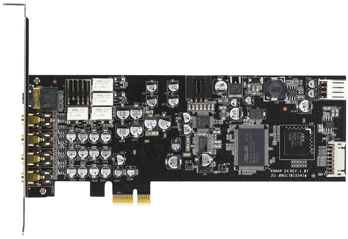 ASUS Xonar DX звуковая картаXONAR DXAsus Xonar DX - звуковая карта с поддержкой технологий Dolby Home Theater.Технология VocalFX для общения в игреПоддержка полного набора технология Dolby Home TheaterОбработчик игровых аудиоэффектов DS3D GX 2.0Чистота звучания (соотношение сигнал/шум на уровне 116 дБ) значительно выше, чем у аудиокодеков, интегрированных в материнские платы (порядка 85 дБ)Поддержка полного набора технология Dolby Home TheaterЗвуковая карта Xonar DX унаследовала у своих предшественниц, моделей D2 и D2X, полный комплект технологий Dolby Home Theater, в который входят:Dolby Digital Live: Декодирование звука в формате Dolby Digital 5.1 в режиме реального времениDolby Pro-Logic IIx: Преобразование звука в формате стерео или 5.1 в формат 7.1Dolby Headphone: Реалистичное, пространственное звучание формата 5.1 при воспроизведении звука через стереофонические наушникиDolby Virtual Speaker: Создание реалистичного пространственного звучания в формате 5.1 при использовании всего лишь двух динамиковОбработчик игровых аудиоэффектов DS3D GX 2.0DirectSound3D GX 2.0 обеспечивает корректную работу звуковых эффектов, созданных с помощью EAX и DirectSound, а также поддерживает аудиотехнологии Dolby Home Theater (Dolby Virtual Speaker, Dolby Headphone, Dolby Digital Live, Dolby Pro Logic IIX).Технология VocalFX для общения в игреVocalFX - это инновационная технология обработки речи, которая позволяет реалистично интегрировать голос игрока в игровой звук (VoiceEX) или выполнить эмуляцию звуков в онлайн-чатах (ChatEX). С ее помощью также можно изменить звук голоса (функция Magic Voice), чтобы общаться анонимно. Все эти функции сделают общение и игру по сети более веселыми и интересными.Чистота звучания (соотношение сигнал/шум на уровне 116 дБ) значительно выше, чем у аудиокодеков, интегрированных в материнские платы (порядка 85 дБ)Уровень шума Xonar DX составляет всего 2,8% от уровня шума обычного интегрированного аудио-решения. Помимо этого, коэффициент гармонических ис