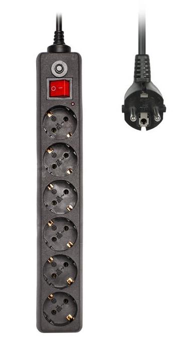 Сетевой фильтр Buro 600SH-1.8-B (6 розеток), Black600SH-1.8-B
