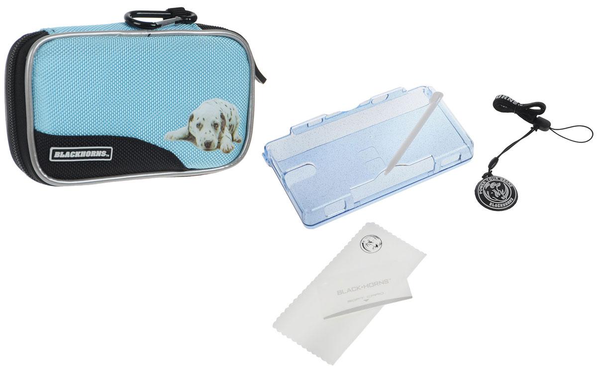 Набор 6 в 1 для приставки DS Lite, цвет: голубойBH-DSL09612_голубойНабор аксессуаров для приставки DS Lite. Особенности комплекта:Стильный белый чехол с изображением щенка. Надежно защитит вашу DS Lite от ударов, царапин, и других повреждений. Выполнен из нейлона. Удобная и прочная молния с застежкой. Съемный карабин позволит надежно закрепить чехол на рюкзаке, сумке или ремне.Защитный пластиковыйкорпус сделан из прочного поликарбонатного материала и обеспечивает защиту вашей Nintendo DS Lite от царапин и сколов.Футляр для картриджей включает 6 слотов для хранения игровых картриджей.Ремешок на руку защитит вашу приставку от падений.С очищающей подушечкой экран вашей приставки всегда будет оставаться чистым.