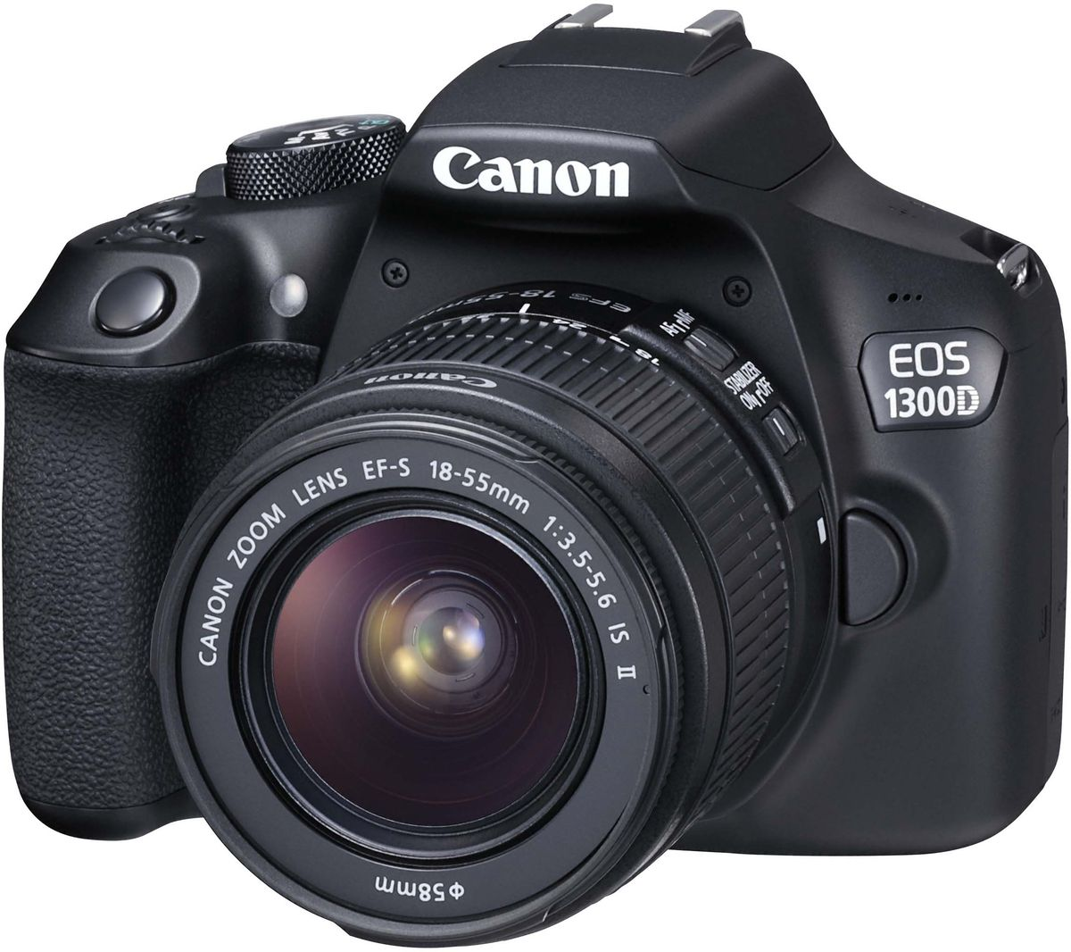 Canon EOS 1300D Kit 18-55 IS II цифровая зеркальная фотокамера1160C005Цифровая зеркальная фотокамера Canon EOS 1300D позволяет легко получать отличные фотографии и видео Full HD в кинематографическом качестве.Создавайте превосходные изображения с высокой детализацией благодаря большому 18-мегапиксельному датчику изображения размера APS-C. Распечатывайте изображения даже в формате A2 или креативно обрезайте их без потери качества.Снимайте великолепные фотографии без вспышки даже при слабом освещении, чтобы передать истинную атмосферу сцены. Диапазон чувствительности EOS 1300D составляет ISO 100–6400 (с возможностью увеличения до ISO 12800), что позволяет добиться естественного отображения на каждом снимке.Снимайте потрясающие портреты, используя малую глубину резкости, которая характерна для съемки цифровой зеркальной камерой и позволяет создавать эффектные фотографии, выделяя объект съемки на красиво размытом заднем плане.Создавайте изображения с высокой детализацией и точной передачей цвета и контрастности благодаря возможностям процессора DIGIC 4+.С технологией NFC можно быстро подключиться к смартфонам и планшетам на базе Android и одним касанием запустить приложение Camera Connect. Кроме того, приложение можно запустить через сеть Wi-Fi с помощью устройств на базе iOS и устройств, не поддерживающих NFC. Идеально подходит для легкой передачи изображений и видео на ходу.Снимайте видео Full HD в превосходном кинематографическом качестве с высочайшей детализацией благодаря управлению глубиной резкости, которое позволяет выделить объект на переднем плане и создать красивое размытие заднего плана.Вы никогда не упустите решающий момент благодаря быстрой и точной автофокусировке и скорости съемки 3 кадра/сек. при полном разрешении. Идеально подходит для получения резких снимков спортивных событий и динамических сцен.Легко выстраивайте композицию кадра с помощью оптического видоискателя и просматривайте результаты на удобном трехдюймовом ЖК-экране (7,5 см) с разрешением 