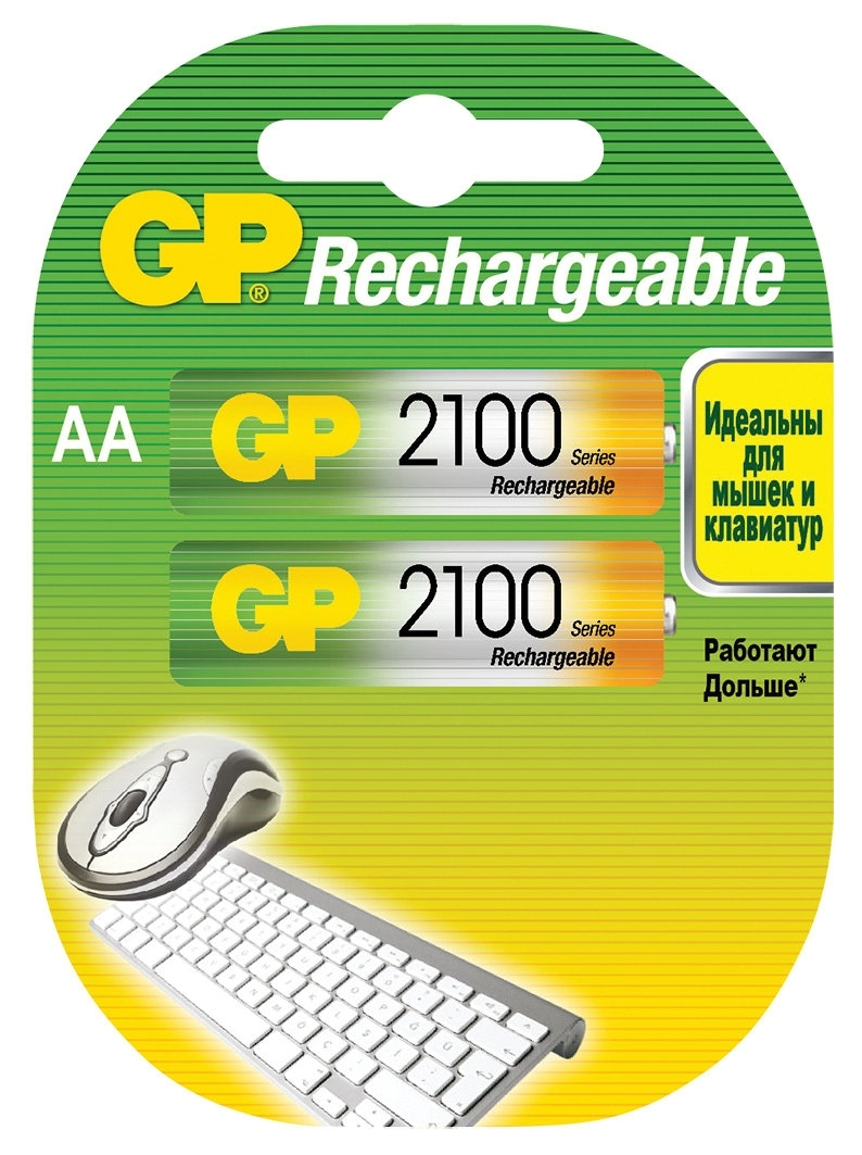 Аккумулятор GP 210AAHC AA NiMH 2100 мАч, 2 штGP 210AAHC-2DECRC2Аккумуляторные батареи типа AA широко применяемые во множестве устройств, от пультов ДУ и фонарей, до игрушек и фотоаппаратуры.