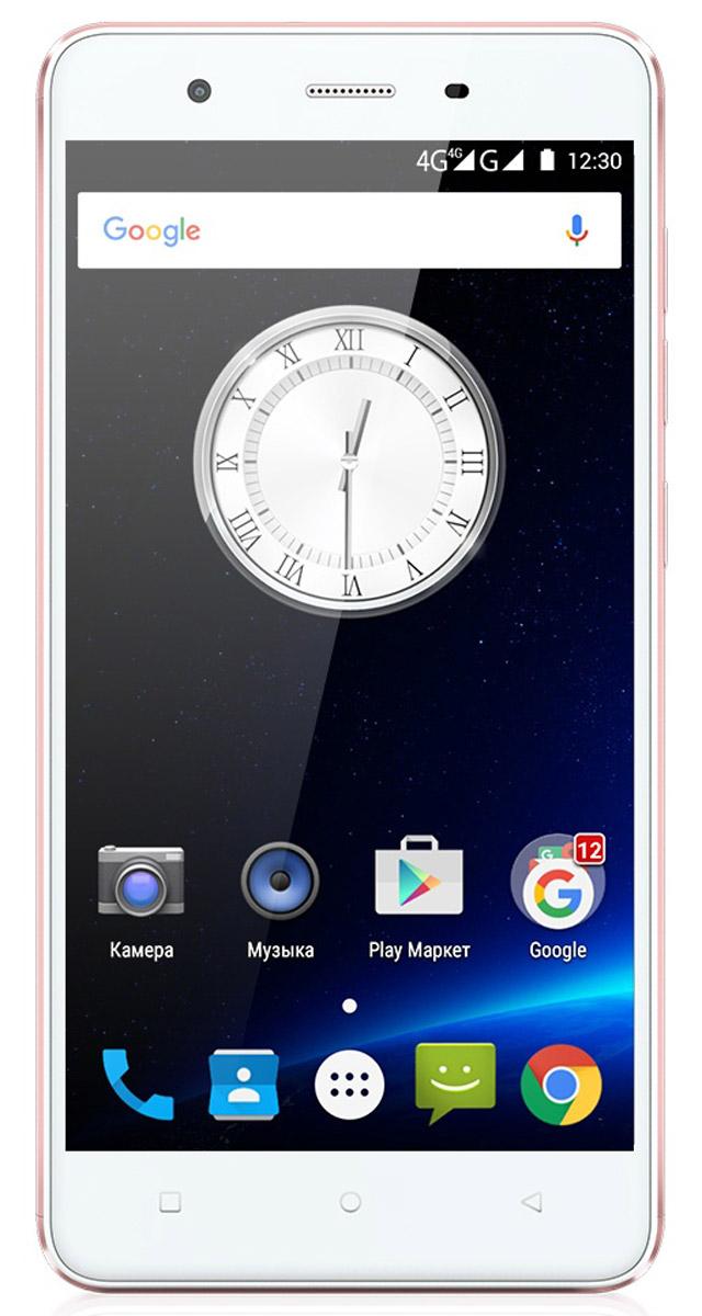Highscreen Tasty, Rose Gold23380Смартфон Highscreen Tasty - мобильная новинка 2016 года! Телефон выполнен в тонком металлическом корпусе, его практичный корпус обеспечивает прекрасные тактильные ощущения. Дизайн Highscreen Tasty выполнен в ногу со временем, а изящные линии смартфона подчёркиваются стильными цветовыми решениями. Телефон работает на популярной операционной системе Android 5.1.HD экран смартфона составляет пять дюймов. Этот размер позволяет устройству удобно разместиться в руке пользователя, но в то же время иметь достаточно большой экран для удобства эксплуатации: просмотра информации, серфинга в интернете, создания сообщений, чтения книг. Дисплей имеет повышенную чёткость, чему способствуют внедрение таких современных технологий как: IPS матрица, OnCell, Curved.Аппарат снабжён мощным четырёхъядерным процессором MT6735 и большим объёмом памяти, что является неотъемлемой частью дляактивной эксплуатации смартфона. Оперативная память гаджета составляет 3 ГБ, встроенная - 16 ГБ, а возможность расширения памяти картой microSD позволит дополнительно увеличить количество сохраняемой информации.Основная камера телефона равна 8 МП и обладает моментальным автофокусом, возможностью совершать серию снимков, среди которых отбирается лучший. Передняя камера порадует любителей селфи параметром в 5 МП. Она имеет функцию дополнительных настроек, среди которых режим ретуши, позволяющий автоматически убрать изъяны. Highscreen Tasty поддерживает все современные технологии, такие как 4G/LTE, 3G, Bluetooth, Wi-Fi, а также системы навигации GPS и ГЛОНАСС.Телефон сертифицирован EAC и имеет русифицированный интерфейс меню и Руководство пользователя.