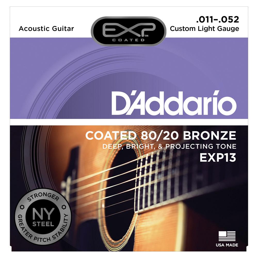 DAddario EXP13 струны для акустической гитарыEXP13Струны для акустической гитары DAddario EXP13 имеют экстра-яркий тон, который длится в три-четыре раза дольше чем у традиционных гитарных струн.Обмотка: бронза 80/20 в оболочкеШестигранный кордНатяжение: Custom Light