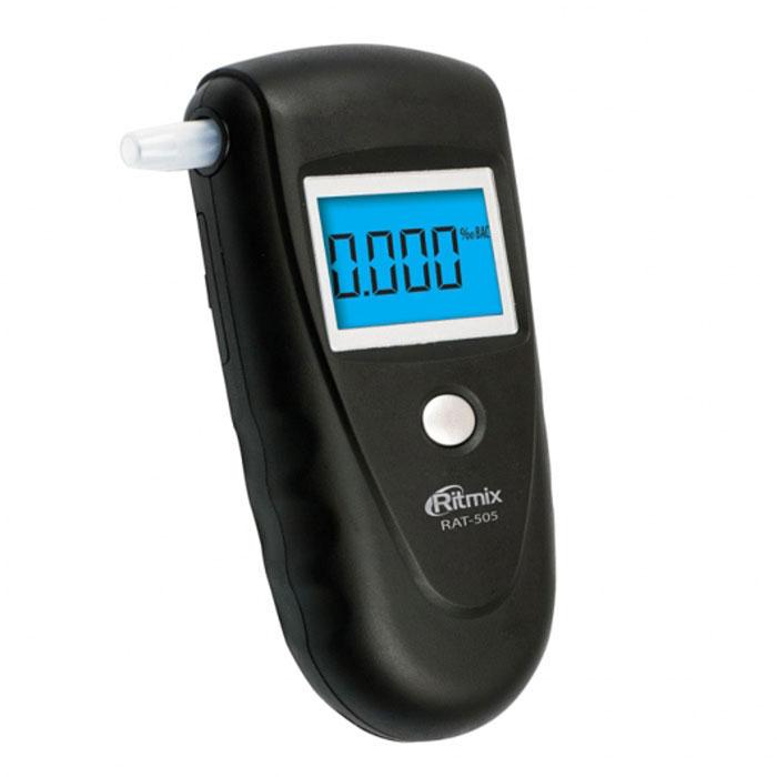 Ritmix RAT-505, Black алкотестер15118367Ritmix RAT-505 - это цифровой алкотестер со звуковым сигналом, который предназначен для проведения персонального измерения концентрации алкоголя в парах выдыхаемого воздуха. Прибор пересчитывает полученные данные на концентрацию алкоголя в крови и выдает результат на цифровой дисплей.RAT-505 оснащён высокоточным полупроводниковым датчиком, что обеспечивает безошибочный вывод результатов, а также быстрый отклик. Алкотестер выполнен из приятного на ощупь материала Soft Touch и имеет подсветку дисплея. Устройство удобно как для левшей, так и для правшей.Датчик: полупроводниковыйДиапазон измерения: 0,000%-0,199% BAC или 0,000-0,995 мг/л (0,000‰-1,999‰)Точность измерения: +/- 0,01% BAC (0,1 г/л)Время подготовки: 15 сВремя измерения: 10 сДиапазон рабочих температур: -5°C...+40°C