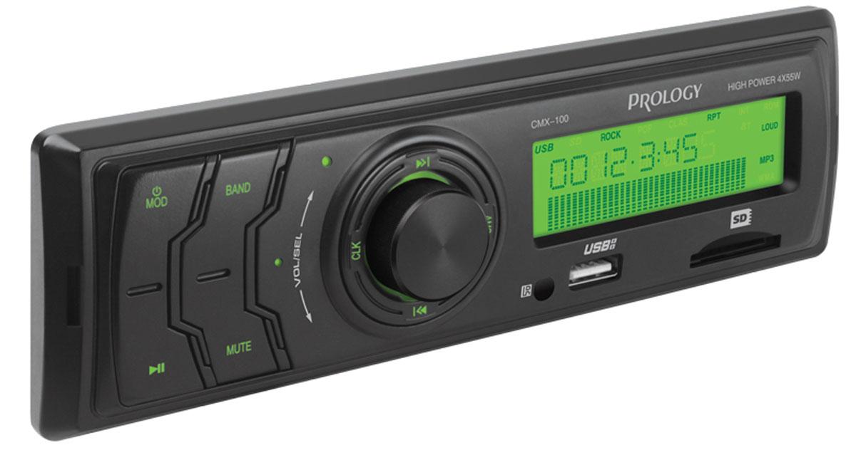 Prology CMX-100, Black автомагнитолаPROLOGY CMX-100Доступный по цене автомобильный ресивер Prology CMX-100 с высокой выходной мощностью 4 x 55 Вт. Простое и надежное головное устройство формата 1DIN без дискового привода, предназначенное для воспроизведения музыки популярных форматов MP3 и WMA с USB-флэшек и SD-карт. Высокоскоростной цифровой PLL тюнер сFM диапазоном и памятью на 12 станций. Линейный аудиовыход позволяет построить в автомобиле систему с внешними усилителями.