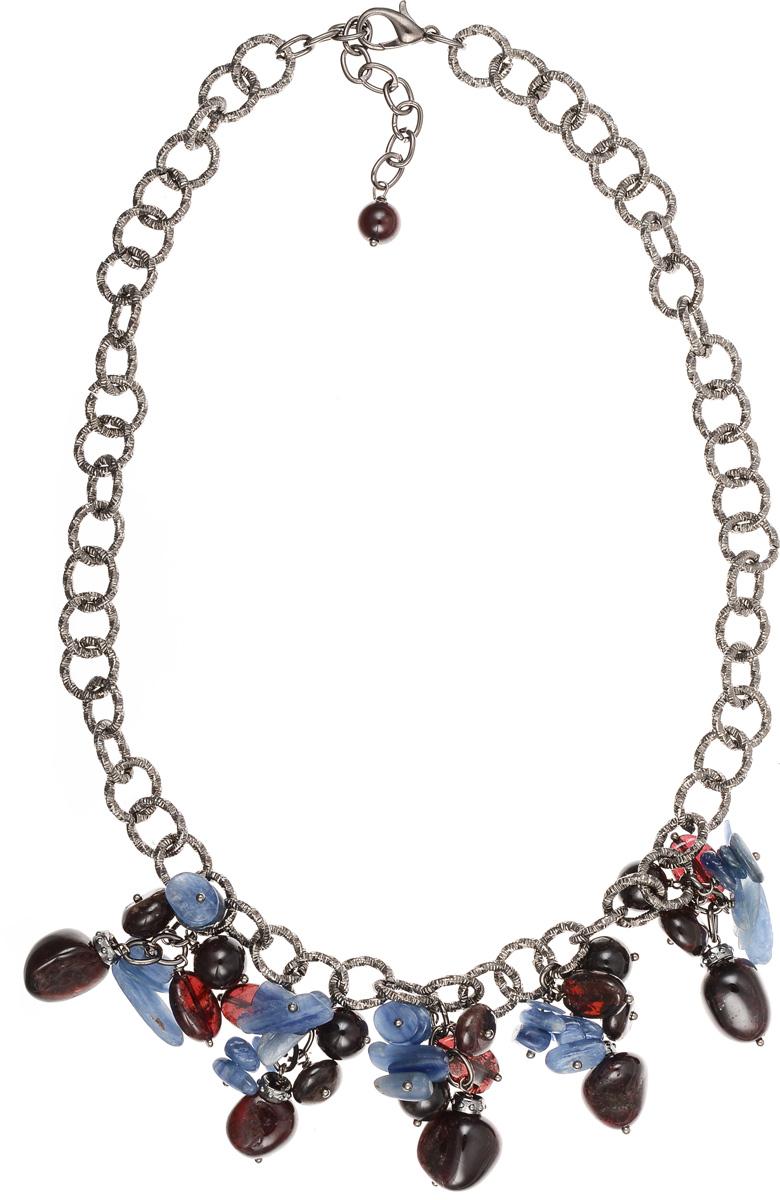 Колье Polina Selezneva, цвет: бордовый, синий, черный. 001-1545Колье (короткие одноярусные бусы)Элегантное колье Polina Selezneva изготовлено из ювелирного сплава и натурального камня. Оригинальные узоры кианита прекрасно подчеркивают уникальность минерала и идеально сочетаются с перламутровыми переливами граната.Изделие застегивается на замок-карабин, длина регулируется.Стильное колье Polina Selezneva поможет дополнить любой образ и привнести в него завершающий яркий штрих.