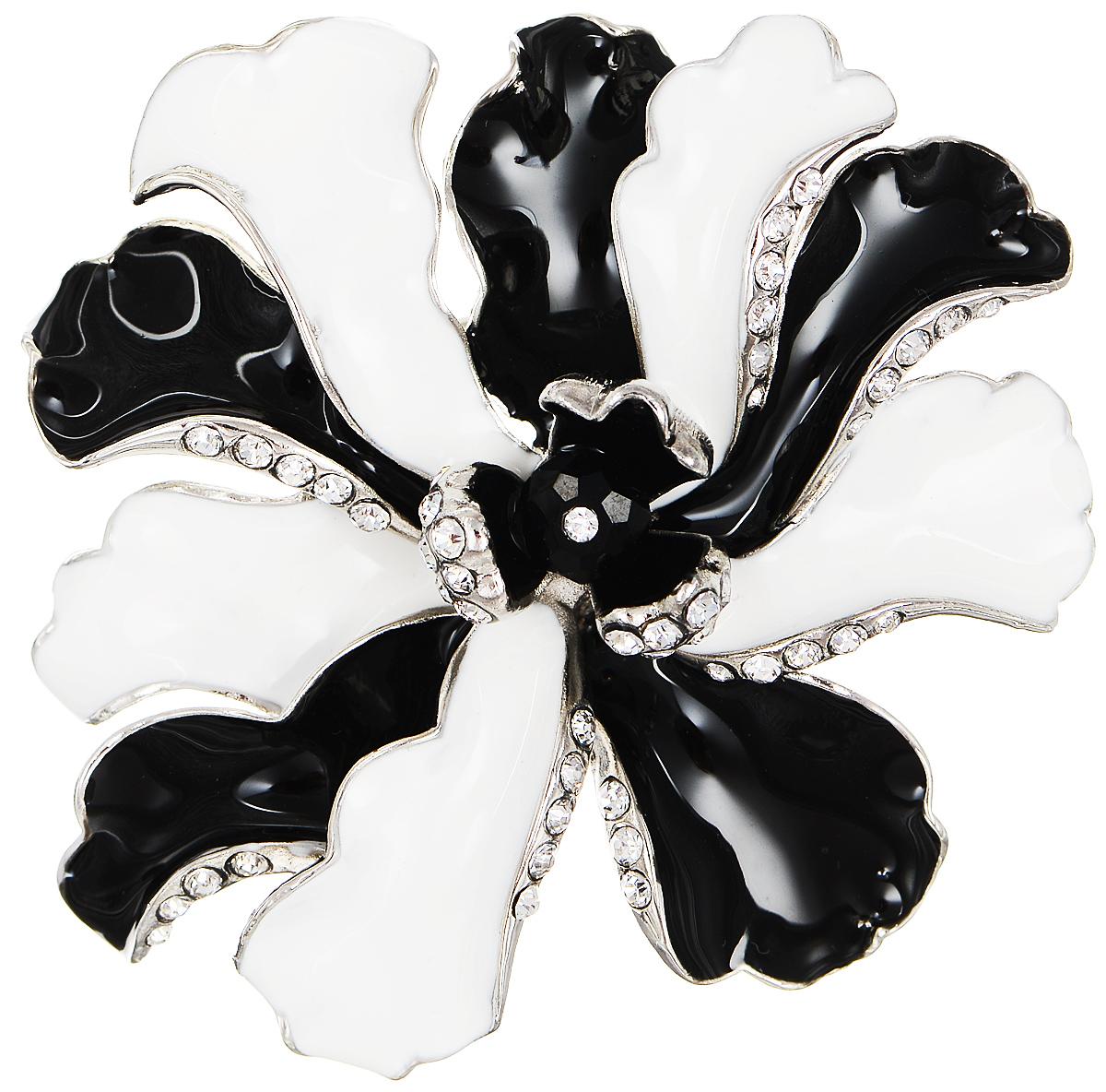 Брошь Selena Street Fashion, цвет: серебристый, белый, черный. 30027060Брошь-булавкаРоскошная брошь Selena Street Fashion изготовлена из латуни с родиевым покрытием в виде цветка. Брошь покрыта эмалью и оформлена кристаллами Preciosa. Изделие крепится с помощью замка-булавки. Такая брошь позволит вам с легкостью воплотить самую смелую фантазию и создать собственный неповторимый образ.