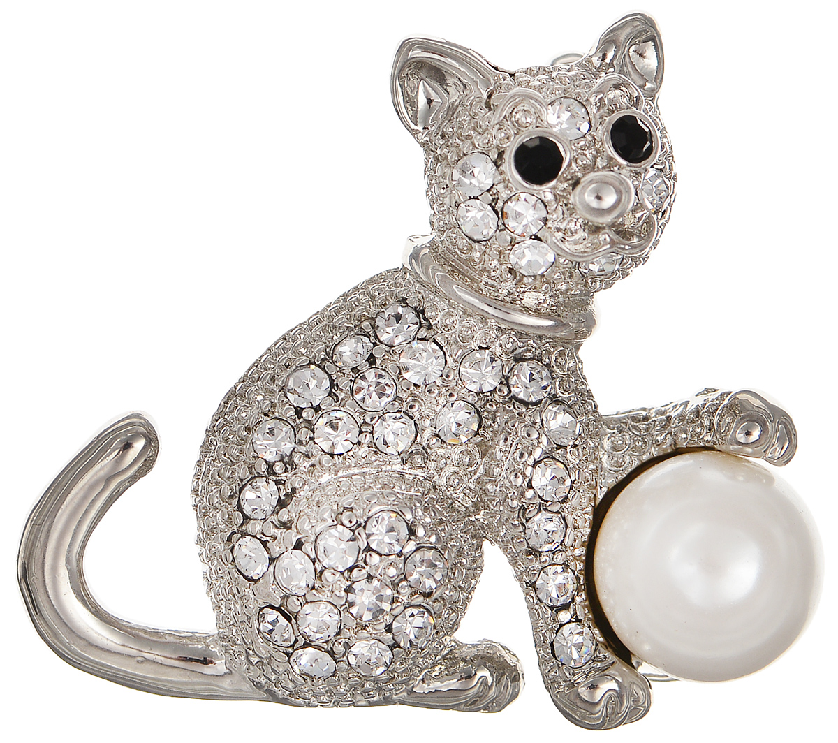 Брошь Selena Street Fashion, цвет: белый, серебристый. 30026690Брошь-булавкаОригинальная брошь Selena Street Fashion изготовлена из латуни с родиевым покрытием. Брошь, выполненная в виде кошки, дополнена кристаллами Preciosa и искусственным жемчугом. Изделие крепится с помощью замка-булавки. Такая брошь позволит вам с легкостью воплотить самую смелую фантазию и создать собственный неповторимый образ.