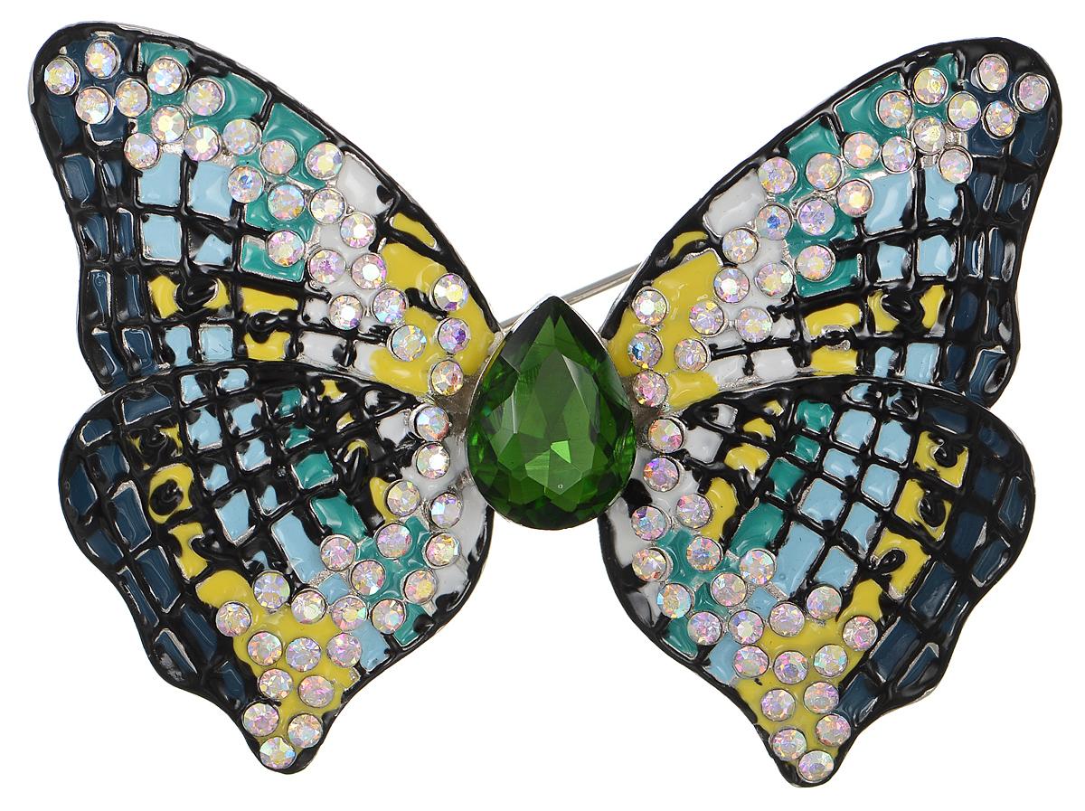Брошь Selena Street Fashion, цвет: голубой, желтый, зеленый. 30026870Брошь-булавкаРоскошная брошь Selena Street Fashion изготовлена из латуни с родиевым покрытием в виде бабочки. Брошь оформлена кристаллами Preciosa и покрыта эмалью. Изделие крепится с помощью замка-булавки. Такая брошь позволит вам с легкостью воплотить самую смелую фантазию и создать собственный неповторимый образ.