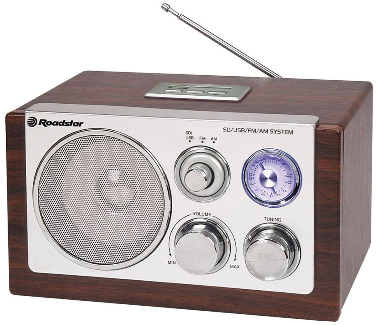 RoadStar HRA-1325US/WD, Wood, ретро-радиоприемникHRA-1325US/WDRoadStar HRA-1325US/WD - ретро FM/MW - радиоприемник, который обеспечивает высокое качество транслируемого звука. Он безусловно станет актуальным подарком для меломана или просто любителя ретро-дизайна. Устройство оснащено дисплеем с голубой подсветкой и ручной регулировкой диапазона вещания.Качественное звучание RoadStar HRA-1325US/WD действительно поразит вас и доставит удовольствие при прослушивании любимых радиостанций.
