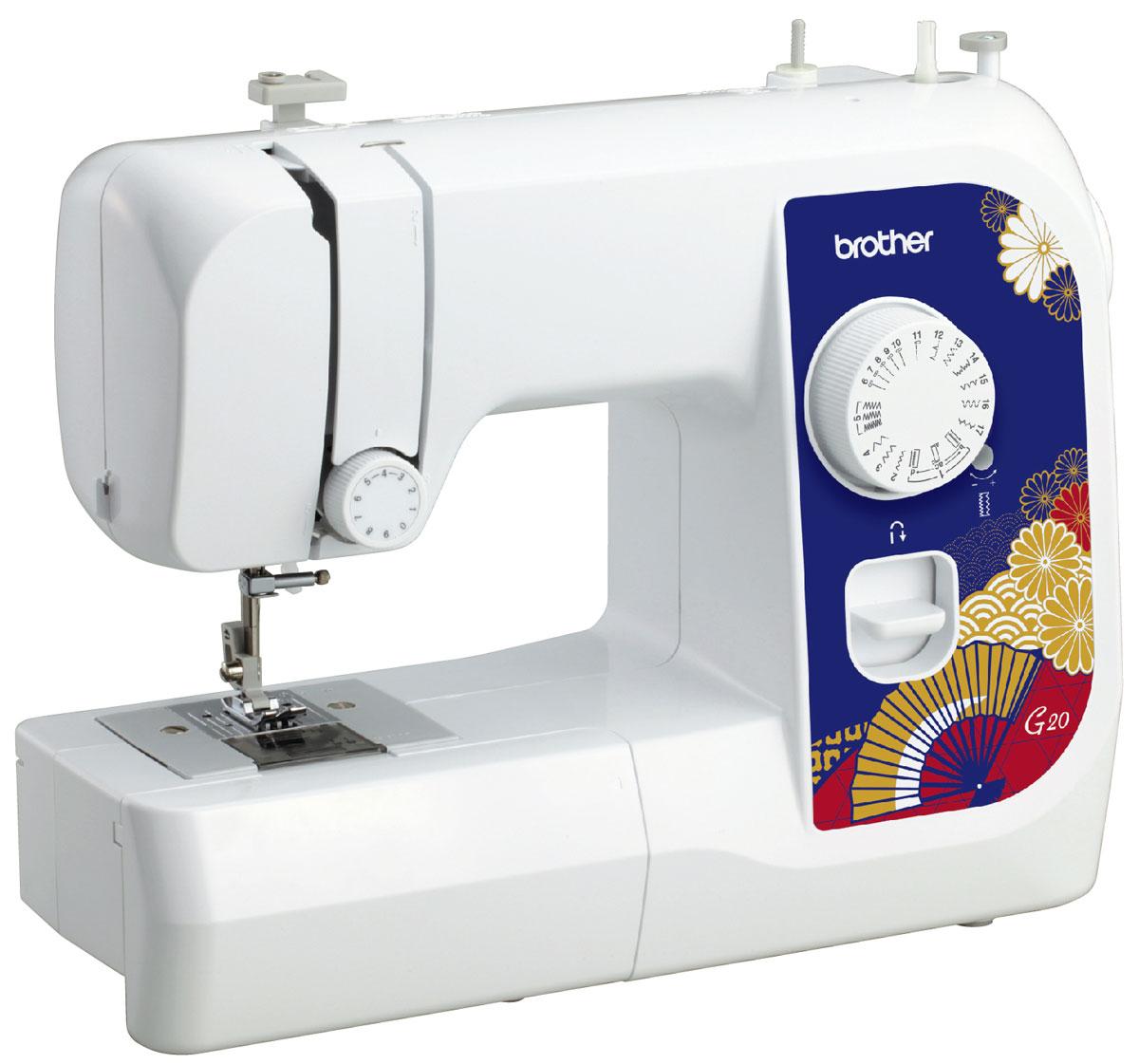 Brother G20 швейная машинаG20Машина Brother G20 идеально подходит для выполнения основных швейных операций при изготовлении и ремонте одежды. Эта надежная машина имеет традиционный набор функций, который необходим для шитья.