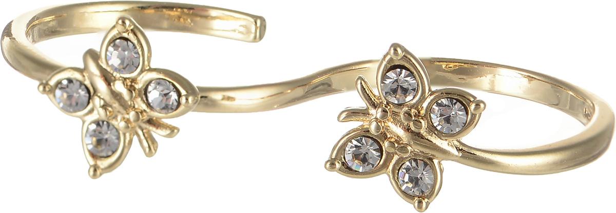 Кольцо на два пальца Jenavi Мачи, цвет: золотой, белый. f630p000. Размер 16Коктейльное кольцоКольцо на два пальца Jenavi Мачи изготовлено из ювелирного сплава с покрытием из золота. Украшение современного дизайна оформлено декоративными элементами в виде бабочек, которые инкрустированы стразами Swarovski. Стильное кольцо придаст вашему образу изюминку и подчеркнет индивидуальность.