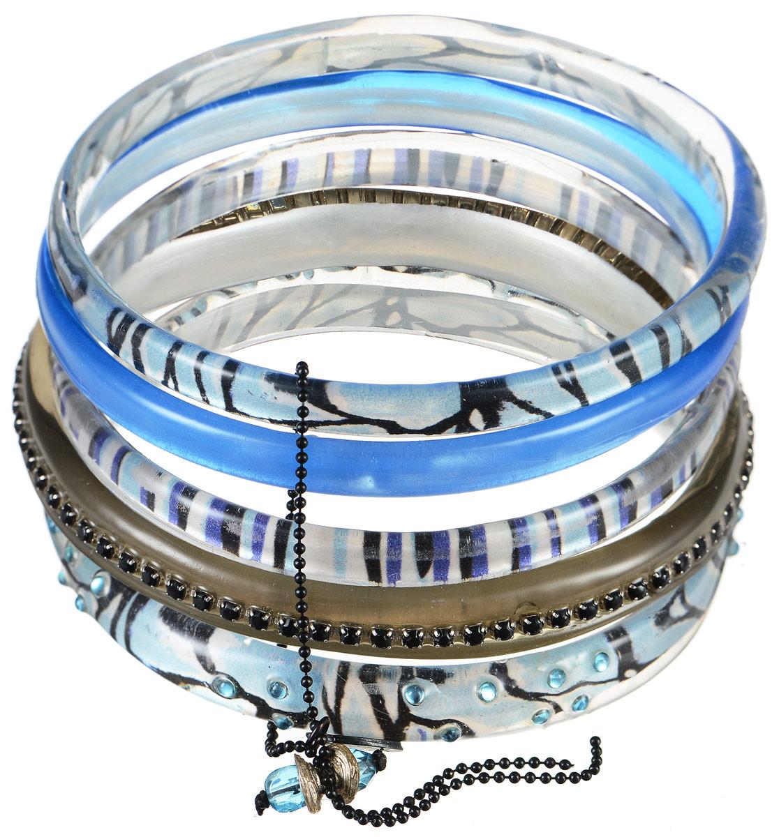 Браслет Lalo Treasures Row, цвет: голубой, серый. Bn2500Браслет с подвескамиЯркое комбинированное украшение Lalo Treasures Row включает пять браслетов, выполненных из ювелирной смолы. Изделия оформлены стразами и оригинальными орнаментами.Стильное украшение поможет дополнить любой образ и привнести в него завершающий яркий штрих.