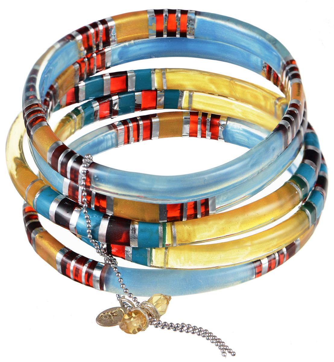 Браслет Lalo Treasures Row, цвет: голубой, желтый, красный. Bn2505Глидерный браслетЯркое комбинированное украшение Lalo Treasures Row включает пять браслетов, изготовленных из ювелирной смолы.Стильное украшение поможет дополнить любой образ и привнести в него завершающий яркий штрих.