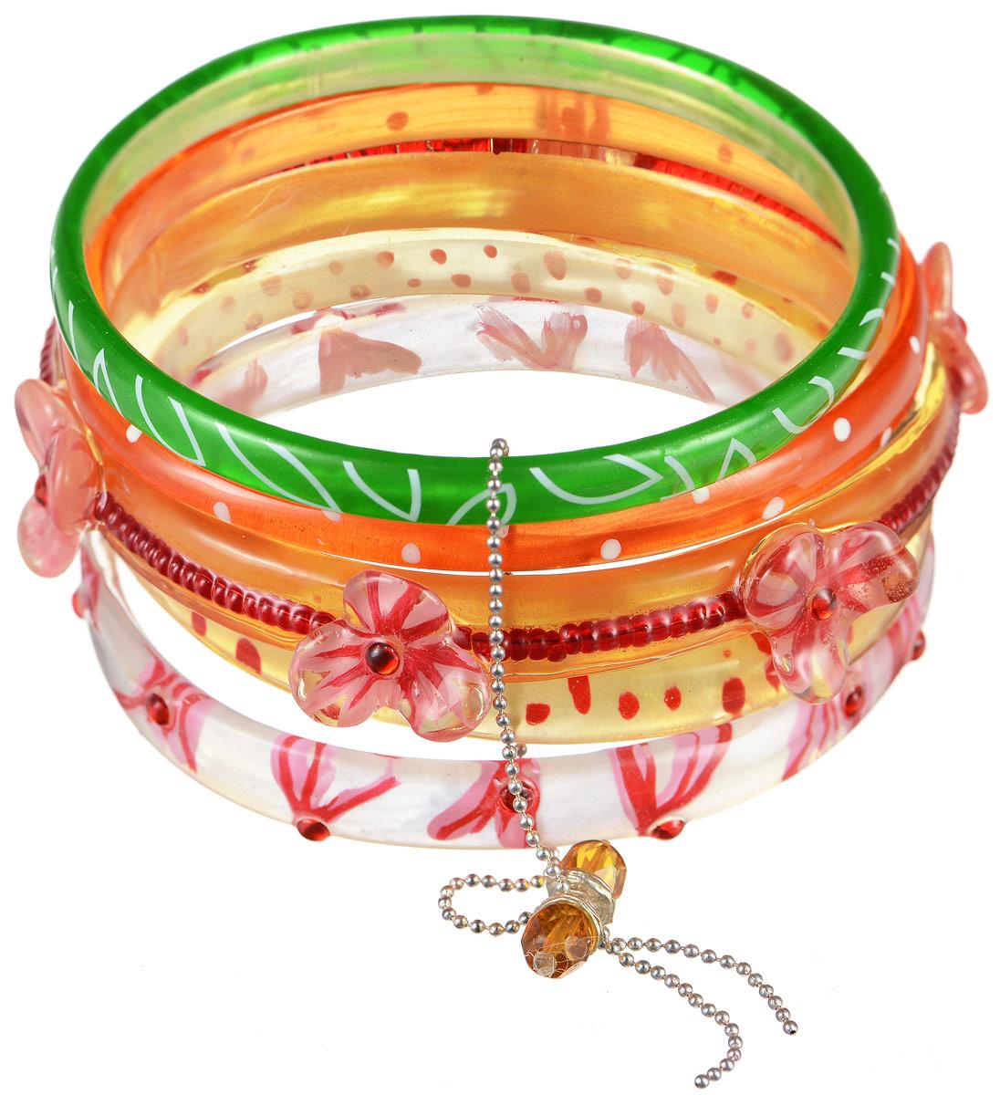 Браслет Lalo Treasures Row, цвет: розовый, оранжевый, зеленый. Bn2508Браслет с подвескамиЯркое комбинированное украшение Lalo Treasures Row включает пять браслетов, выполненных из ювелирной смолы. Изделия оформлены оригинальными орнаментами и декоративными элементами в виде цветов.Стильное украшение поможет дополнить любой образ и привнести в него завершающий яркий штрих.