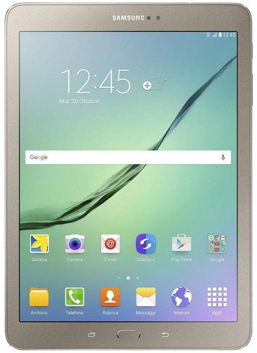 Samsung Galaxy Tab S2 9.7 SM-T819, GoldSM-T819NZDESERПланшет Samsung Galaxy Tab S2 выполнен из цельно металлического корпуса с толщиной всего 5.6 миллиметров и по праву является самым тонким планшетом в мире. При весе всего 389 грамм и диагональю 9.7 дюймов является еще и самым лёгким в своём сегменте. Стоит отметить и форм-фактор дисплея, с соотношение сторон 4:3, с таким дисплеем гораздо комфортнее пользоваться социальными сетями и интернет браузером или просто читать книгу.Планшет Samsung Galaxy Tab S2 обладает потрясающим Super AMOLED дисплеем с разрешением 2048x1536 пикселей. Два четырёхъядерных процессора с частотой 1,4 ГГц и 1,8 ГГц Qualcomm Snapdragon 652 MSM8976. Основная камера, делает отличные фото даже при слабом освещении, благодаря 8 мегапикселям и светосилы 1.9, а фронтальная, 2.1 мегапикселя для скайпа и селфи. Для зашиты персональных данных воспользуйтесь инновационным сканером отпечатка пальцев. Или блокируйте планшет по отпечатку. Чтобы разблокировать, просто прикоснитесь с кнопке Home.Планшет Samsung Galaxy Tab S2 работает под самой инновационной мобильной операционной системой Android 5.0, Lollipop, которая обеспечивает работу сразу в нескольких приложениях на одном экране. Для работы с офисными документами на планшете уже установлен пакет Microsoft Office, который работает со всеми стандартными документами. Для более длительной работы вы можете использовать режим максимально энергосбережения и продлить работу планшета в несколько раз. Планшет имеет режим специально предназначенный для детей, в котором вы можете ограничь доступ к файлам и приложениям, а так же ограничить время работы.Планшет сертифицирован EAC и имеет русифицированный интерфейс, меню и Руководство пользователя.