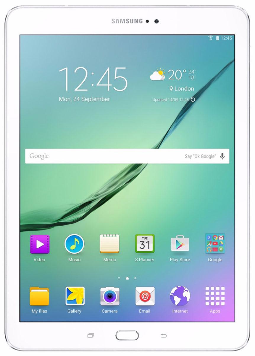 Samsung Galaxy Tab S2 9.7 SM-T819, WhiteSM-T819NZWESERПланшет Samsung Galaxy Tab S2 выполнен из цельно металлического корпуса с толщиной всего 5.6 миллиметров и по праву является самым тонким планшетом в мире. При весе всего 389 грамм и диагональю 9.7 дюймов является еще и самым лёгким в своём сегменте. Стоит отметить и форм-фактор дисплея, с соотношение сторон 4:3, с таким дисплеем гораздо комфортнее пользоваться социальными сетями и интернет браузером или просто читать книгу.Планшет Samsung Galaxy Tab S2 обладает потрясающим Super AMOLED дисплеем с разрешением 2048x1536 пикселей. Два четырёхъядерных процессора с частотой 1,4 ГГц и 1,8 ГГц Qualcomm Snapdragon 652 MSM8976. Основная камера, делает отличные фото даже при слабом освещении, благодаря 8 мегапикселям и светосилы 1.9, а фронтальная, 2.1 мегапикселя для скайпа и селфи. Для зашиты персональных данных воспользуйтесь инновационным сканером отпечатка пальцев. Или блокируйте планшет по отпечатку. Чтобы разблокировать, просто прикоснитесь с кнопке Home.Планшет Samsung Galaxy Tab S2 работает под самой инновационной мобильной операционной системой Android 5.0, Lollipop, которая обеспечивает работу сразу в нескольких приложениях на одном экране. Для работы с офисными документами на планшете уже установлен пакет Microsoft Office, который работает со всеми стандартными документами. Для более длительной работы вы можете использовать режим максимально энергосбережения и продлить работу планшета в несколько раз. Планшет имеет режим специально предназначенный для детей, в котором вы можете ограничь доступ к файлам и приложениям, а так же ограничить время работы.Планшет сертифицирован EAC и имеет русифицированный интерфейс, меню и Руководство пользователя.