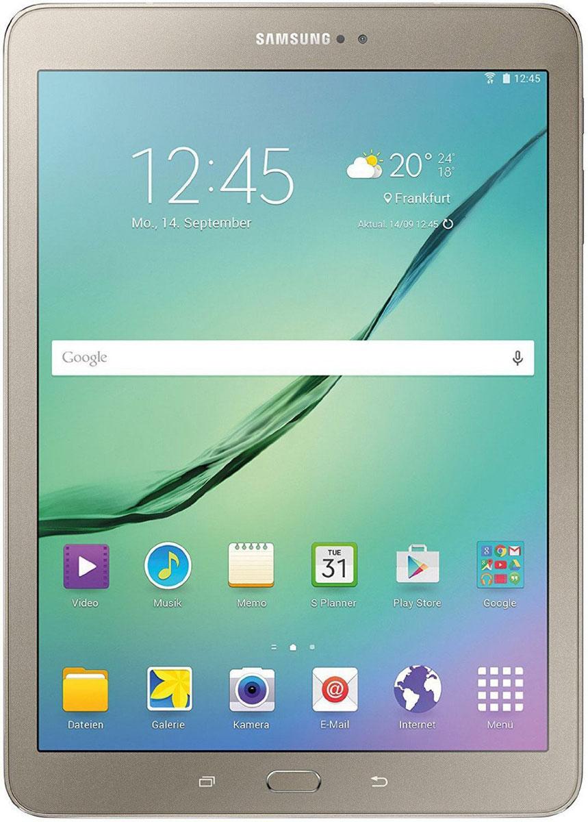 Samsung Galaxy Tab S2 8.0 SM-T719, GoldSM-T719NZDESERПланшет Samsung Galaxy Tab S2 выполнен из цельно металлического корпуса с толщиной всего 5.6 миллиметров и по праву является самым тонким планшетом в мире. При весе всего 272 грамма и диагональю 8 дюймов является еще и самым лёгким в своём сегменте. Стоит отметить и форм-фактор дисплея, с соотношение сторон 4:3, с таким дисплеем гораздо комфортнее пользоваться социальными сетями и интернет браузером или просто читать книгу.Планшет Samsung Galaxy Tab S2 обладает потрясающим Super AMOLED дисплеем с разрешением 2048x1536 пикселей. Два четырёхъядерных процессоров с чистотой 1,9 ГГц и 1,3 ГГц, 3 гигабайта оперативной памяти и 32 встроенной, которую можно увеличить картой памяти MicroSD до 128 гигабайт. Основная камера, делает отличные фото даже при слабом освещении, благодаря 8 мегапикселям и светосилы 1.9, а фронтальная, 2.1 мегапикселя для скайпа и селфи. Для зашиты персональных данных воспользуйтесь инновационным сканером отпечатка пальцев. Или блокируйте планшет по отпечатку. Чтобы разблокировать, просто прикоснитесь с кнопке Home.Планшет Samsung Galaxy Tab S2 работает под самой инновационной мобильной операционной системой Android 5.0, Lollipop, которая обеспечивает работу сразу в нескольких приложениях на одном экране. Для работы с офисными документами на планшете уже установлен пакет Microsoft Office, который работает со всеми стандартными документами. Для более длительной работы вы можете использовать режим максимально энергосбережения и продлить работу планшета в несколько раз. Планшет имеет режим специально предназначенный для детей, в котором вы можете ограничь доступ к файлам и приложениям, а так же ограничить время работы.Планшет сертифицирован EAC и имеет русифицированный интерфейс, меню и Руководство пользователя.