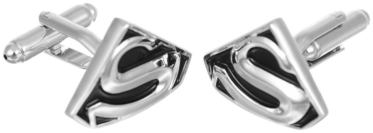 Запонки мужские Mitya Veselkov Superman, цвет: серебряный, черный. ZAP-034Запонки асимметричныеЗапонки современного дизайна Mitya Veselkov Superman изготовлены из металлического сплава.Изделие застегивается на вращающийся штырек. Данная модель представлена в виде значка супермена.Стильный аксессуар подчеркнет ваш образ, а также придаст элегантность и неповторимость имиджу.