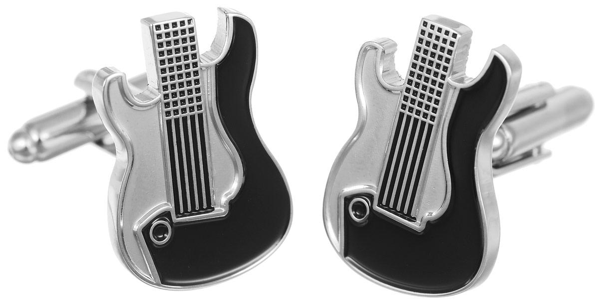 Запонки мужские Mitya Veselkov Гитара, цвет: серебряный, черный. ZAP-119Запонки асимметричныеЗапонки современного дизайна Mitya Veselkov Гитара изготовлены из металлического сплава.Изделие застегивается на вращающийся штырек. Данная модель представлена в виде корпуса гитары.Стильный аксессуар подчеркнет ваш образ, а также придаст элегантность и неповторимость имиджу.