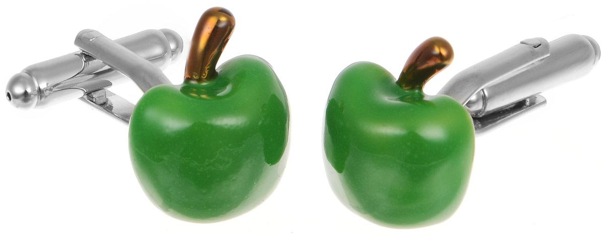 Запонки мужские Mitya Veselkov Яблоко, цвет: серебряный, зеленый. ZAP-124Брелок для ключейЗапонки современного дизайна Mitya Veselkov Яблоко изготовлены из металлического сплава.Изделие застегивается на вращающийся штырек. Запонки выполнены в виде яблокаСтильный аксессуар подчеркнет ваш образ, а также придаст элегантность и неповторимость имиджу.