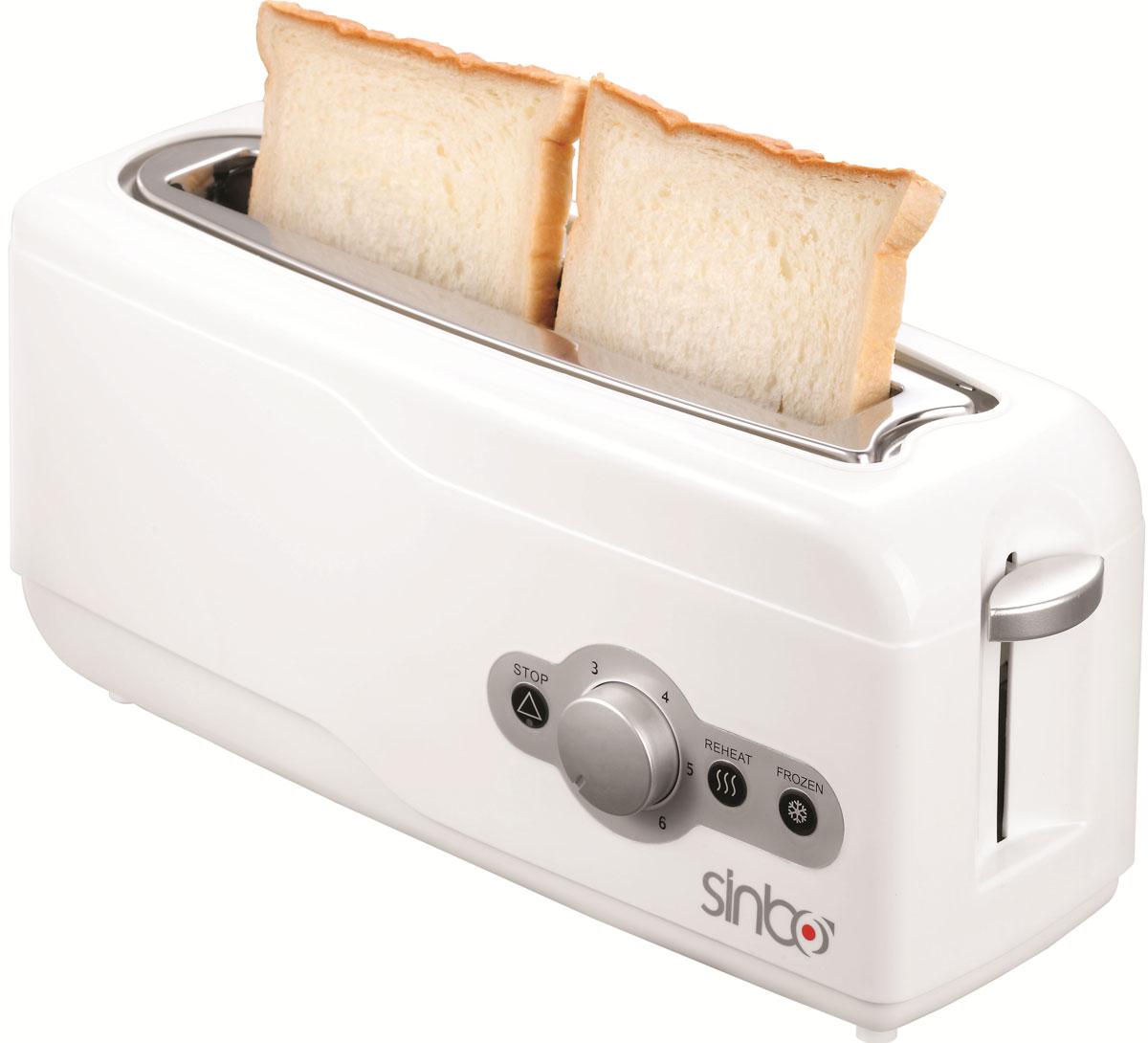 Sinbo ST 2412 тостерST 2412Тостер Sinbo ST 2412 представляет собой сочетание удобства, функциональности и элегантного внешнего вида. Мощность в 750 Вт, простота управления и быстрое приготовление тостов, дополняется возможностью регулировки степени обжарки в 6 ступеней.Компактное и легкое в управлении устройство позволит приготовить вкуснейшие тосты за считанные минуты стразу на двоих. Вы можете в любой момент остановить процесс поджаривания, просто нажав на соответствующую кнопку. Ухаживать за тостером легко и приятно благодаря наличию поддона для крошек.