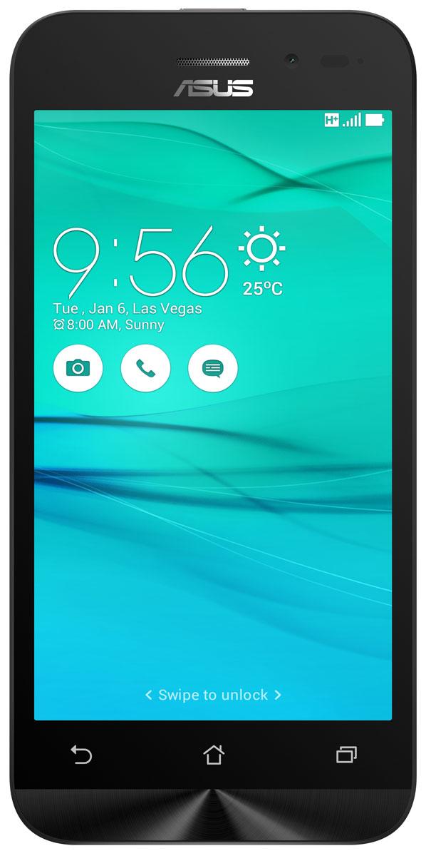 ASUS ZenFone Go ZB452KG, Black (90AX0141-M01130)90AX0141-M01130Смартфон ZenFone Go (ZB452KG) выполнен в изящном корпусе. Обладая эргономичной формой, он украшен традиционным для мобильных устройств ASUS узором из концентрических окружностей с углублениями размером 0,13 мм.Четырехъядерный процессор:Мощный процессор Qualcomm Snapdragon 200 обеспечивает высокую производительность ZenFone Go в многозадачном режиме.Впечатляющее изображение:ZenFone Go оснащается IPS-дисплеем с разрешением 480x854 пикселей. Изображение на его экране отличается высокой яркостью, поразительной четкостью и насыщенными цветами.Высококачественная камера:Для съемки ярких фотографий данный смартфон оснащается тыловой камерой с высоким разрешением. Ловите красивые моменты жизни вместе с ZenFone Go!Поддержка двух SIM-карт:ZenFone Go оснащается двумя слотами для SIM-карт, что позволяет использовать одновременно два телефонных номера, например рабочий и личный. Применяемый в нем модуль мобильной связи также может похвастать пониженным энергопотреблением, что положительно сказывается на времени автономной работы устройства.Эксклюзивный пользовательский интерфейс ZenUI:В смартфоне ZenFone Go реализован пользовательский интерфейс ZenUI, разработанный специально для мобильных устройств ASUS. Отличаясь современным дизайном и удобством представления информации, он отражает концепции свободы самовыражения и общения без границ.Телефон сертифицирован EAC и имеет русифицированную клавиатуру, меню и Руководство пользователя.