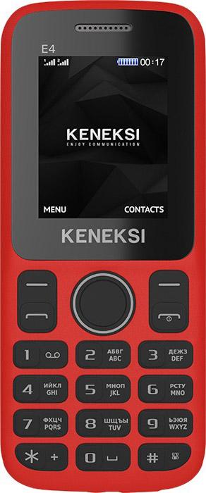 Keneksi E4, RedE4 RedПутешествовать гораздо веселей, когда с вами любимая музыка! С Keneksi E4 вы не пропустите ни одного музыкального хита, ведь в вашем телефоне есть встроенное радио.Эргономичность – еще одно достоинство Keneksi E4. Компактный телефон отлично лежит в руке и запросто помещается в карман одежды, а удобные кнопки позволяют с легкость набирать текстовые сообщения.Встроенное FM-радио не позволит вам заскучать! Слушайте последние новости, новейшие музыкальные чарты или спортивные трансляции.Разграничьте личную и профессиональную жизнь — в этом вам поможет поддержка двух SIM-карт вашего Keneksi E4.Телефон сертифицирован EAC и имеет русифицированную клавиатуру, меню и Руководство пользователя.