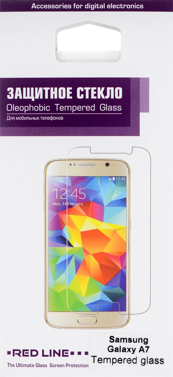Red Line защитное стекло для Samsung Galaxy A7УТ000006147Защитное стекло Red Line для Samsung Galaxy A7 предназначено для защиты поверхности экрана от царапин, потертостей, отпечатков пальцев и прочих следов механического воздействия. Оно имеет окаймляющую загнутую мембрану, а также олеофобное покрытие. Изделие изготовлено из закаленного стекла высшей категории, с высокой чувствительностью и сцеплением с экраном.