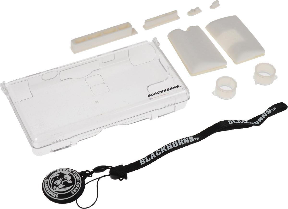 Black Horns Substantiality Kit, White набор аксессуаров для Nintendo DS LiteBH-DSL09616_белыйНабор аксессуаров Black Horns Substantiality Kit для приставки Nintendo DS Lite. В комплекте:Защитный пластиковый корпус из прочного поликарбоната. Обеспечит защиту вашей приставке и убережет ее от царапин и сколов. Удобный ремешок на руку с очищающей подушечкой. Экран вашей приставки всегда будет оставаться чистым.4 пылезащитные резиновые заглушки предотвратят попадание пыли и влаги в разъемы консоли.2 силиконовых стилуса для пальцев. С ними играть в приставку станет ещё удобнее.2 силиконовых накладки обеспечат удобство вашим рукам.
