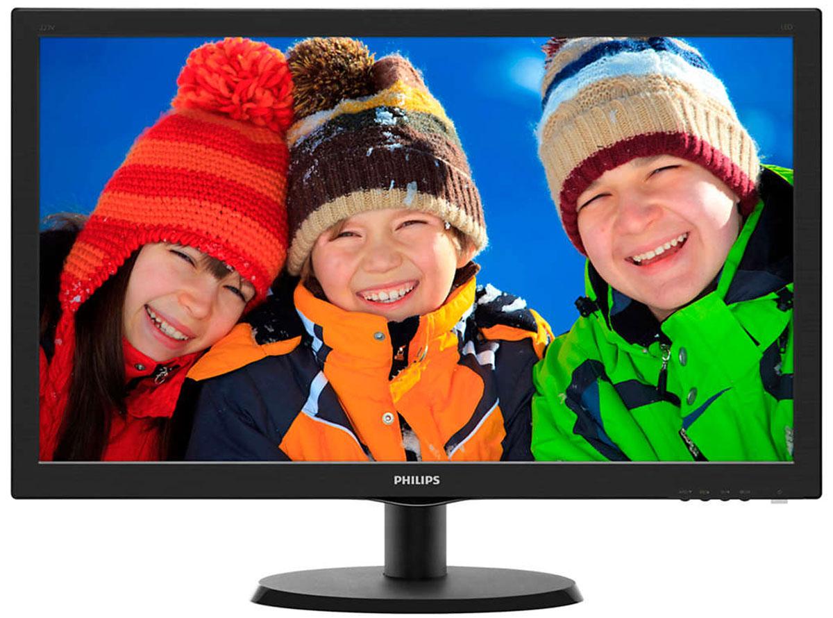 Philips 223V5LHSB (00/01), Black монитор223V5LHSB (00/01)Оцените яркое реалистичное LED-изображение на дисплее Philips 223V5LHSB с HDMI и функцией SmartControl Lite.SmartContrast: для насыщенных оттенков черного:SmartContrast — технология Philips, которая анализирует отображаемый контент и автоматически настраивает цвета и интенсивность подсветки для динамичного улучшения контраста. Тем самым обеспечивается оптимальный уровень контрастности и наилучшее качество цифрового изображения, а также большая насыщенность темных оттенков, что особенно важно во время игр. При выборе экономичного режима уровень контрастности регулируется, а подсветка настраивается для оптимальной работы со стандартными офисными приложениями и экономии электроэнергии.Дисплей 16:9 Full HD для комфортного просмотра:ЖК-дисплей Full HD имеет разрешение 1920x1080р — самое высокое из всех разрешений HD-источников, обеспечивающее изображение наилучшего качества. Это настоящий дисплей будущего, который может принимать сигналы с разрешением 1080р со всех источников, включая самые современные, такие как Blu-ray и современные игровые приставки HD. Значительно улучшенная обработка сигнала позволяет поддерживать его более высокое качество и разрешение. Все это создает великолепное изображение с прогрессивной разверткой без мерцания и потрясающими цветами и яркостью.HDMI-ready для развлечений в формате Full HD:Устройство HDMI Ready обладает всем необходимым аппаратным обеспечением для работы через мультимедийный интерфейс высокой четкости (HDMI). С помощью одного HDMI-кабеля цифровой видео- и аудиоконтент высокого качества передается с ПК или с любого количества аудио- и видеоисточников (включая телеприставки, проигрыватели DVD, ресиверы А/В и видеокамеры).Светодиодная LED-технология для ярких цветов:Белые светодиоды — это устройства, достигающие предельной яркости за меньшее время. Светодиоды не содержат ртути, что обеспечивает экологичный производственный процесс и утилизацию. Светодиоды позволяют лучше рег