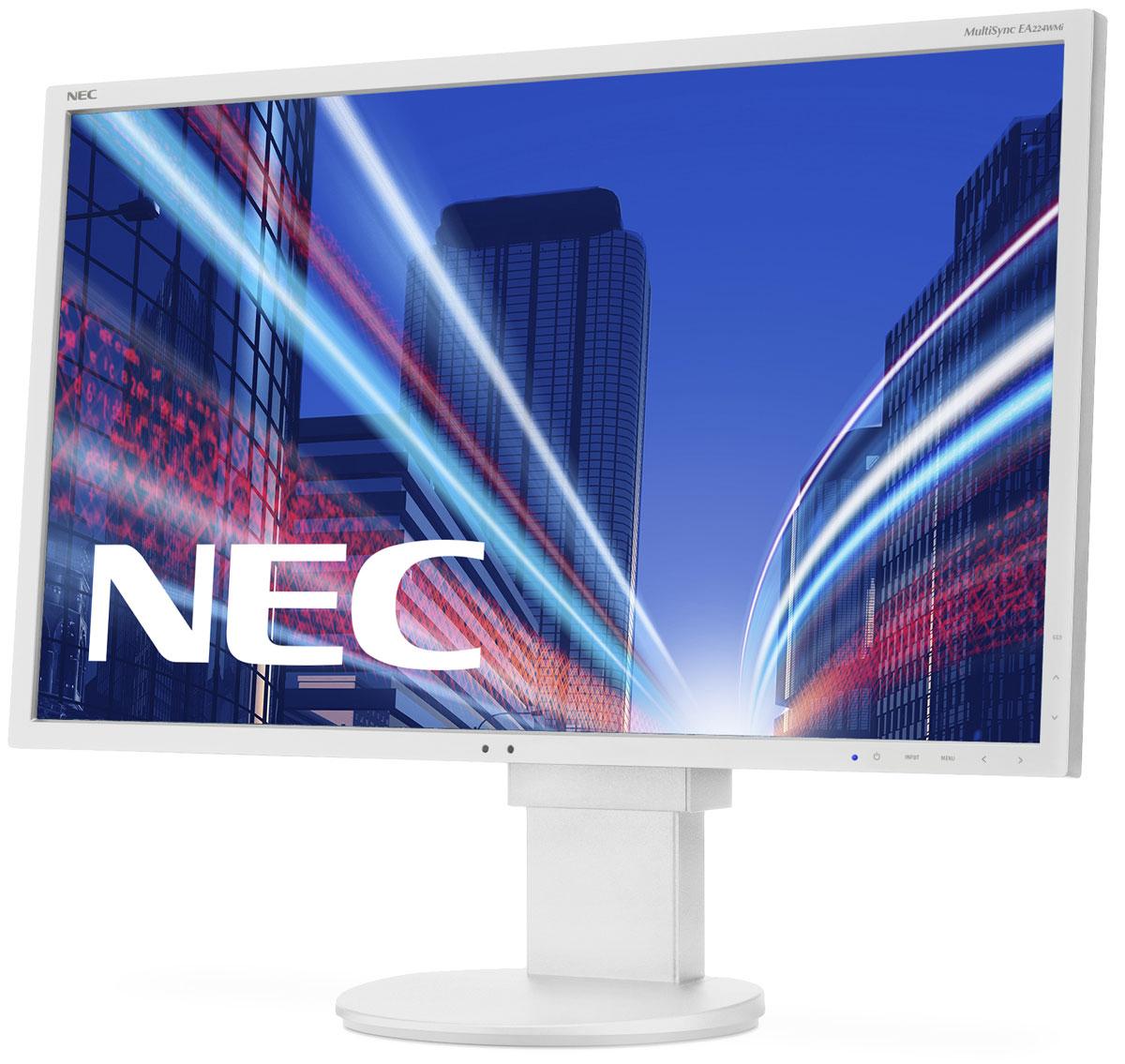 NEC EA224WMi, White мониторEA224WMIМодель EA224WMi от NEC MultiSync обладает очень тонкой панелью со светодиодной подсветкой и IPS-технологией, что обеспечивает ультрасовременный и ультратонкий дизайн в сочетании с характеристиками, идеальными для корпоративного офисного использования. Датчик рассеянного света и датчик присутствия являются стандартными характеристиками данной модели, кроме того, модель обладает улучшенными эргономическими характеристиками, например, механизмом регулирования высоты до 130 мм. Дисплей также располагает широкими возможностями соединения, 3 входами: DisplayPort, DVID и D-Sub. Благодаря превосходному качеству изображения IPS с широким углом обзора в формате экрана 16:9 данная модель обладает высоким уровнем эргономического комфорта.Датчик рассеянного света – благодаря функции автоматической яркости Auto Brightness всегда можно оптимизировать уровень яркости в зависимости от освещения и условий изображения.Датчик присутствия человека – определяет присутствие человека перед экраном и автоматически включает или выключает экран для экономии электроэнергии.