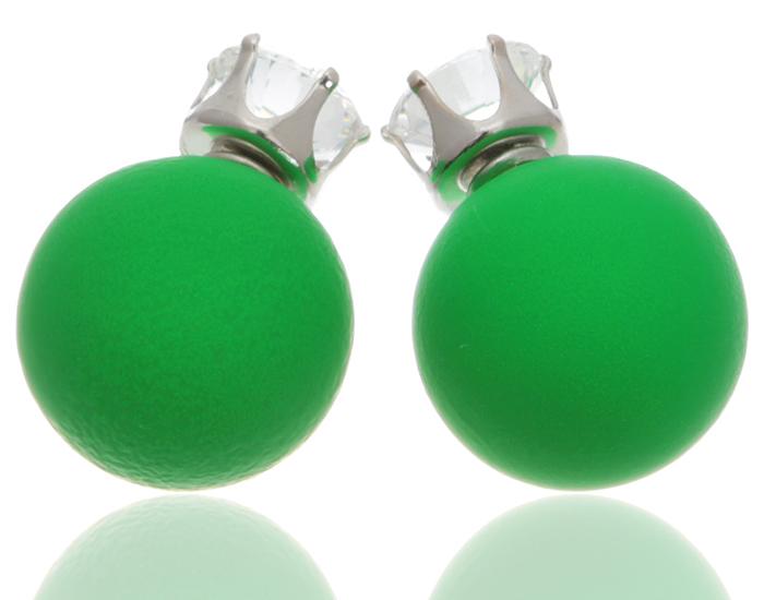 Серьги-шары Вероника. Бусины ярко-зеленого цвета, прозрачные кристаллы, бижутерный сплав серебряного тона. Arrina, ГонконгПуссеты (гвоздики)Двухсторонние серьги-шары Вероника.Бусины ярко-зеленого цвета, прозрачные кристаллы, бижутерный сплав серебряного тона.Arrina, Гонконг.Размер - диаметр 1,5 см.Серьги-шары - самый модный тренд в этом сезоне!
