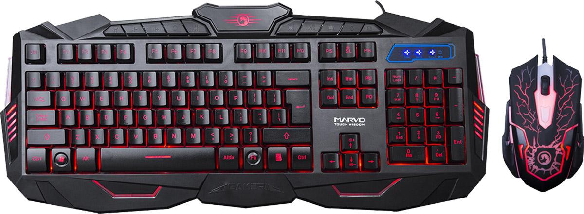 Marvo KM400, Black игровая клавиатура + мышьKM400Marvo KM400 - игровой беспроводной комплект, который состоит из клавиатуры с подсветкой и мультимедиа - клавишами, а также шестикнопочной оптической мыши. Этот комплект безусловно понравится любому геймеру и займет достойное место на компьютерном столе.Длина хода клавиш клавиатуры: 3,6±0,3 ммРесурс кнопок клавиатуры: 5 миллионов нажатийСила нажатия (клавиатура): 50±15 гРесурс кнопок мыши: 3 миллиона нажатий