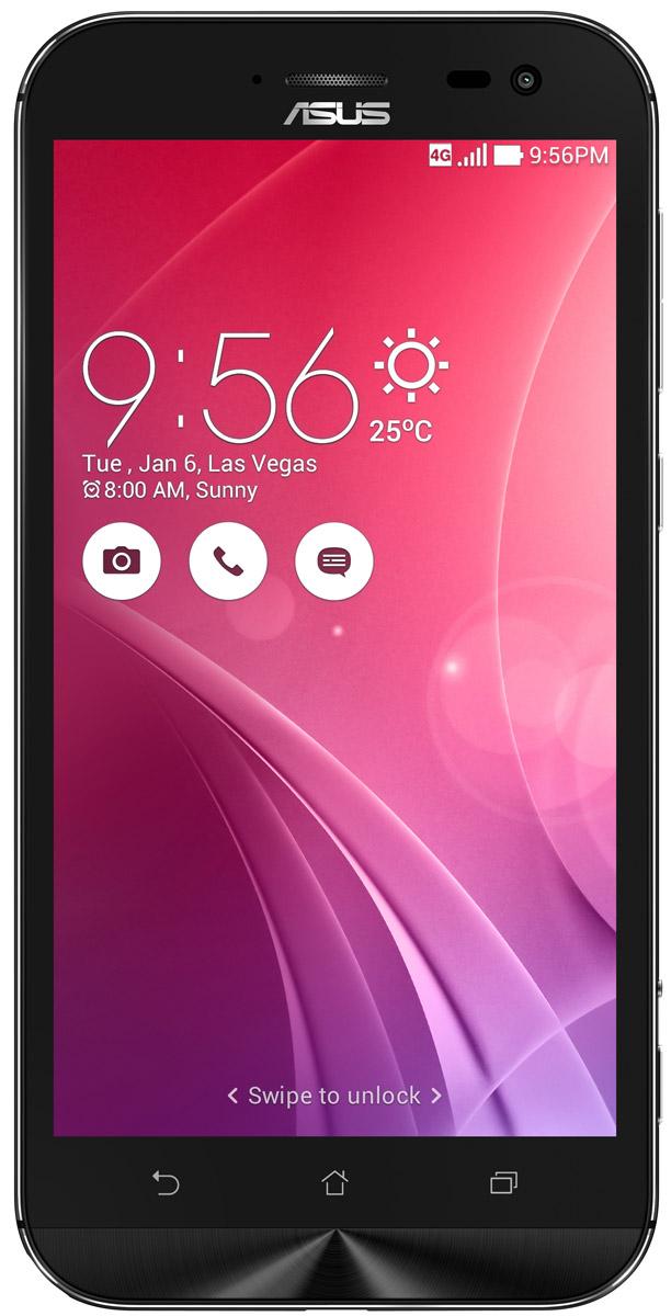 ASUS ZenFone Zoom ZX551ML, Black + вспышка (90AZ00X1-M01200)90AZ00X1-M01200Asus ZenFone Zoom ZX551ML - это самый тонкий в мире смартфон с системой 3-кратного оптического увеличения. Максимальное же увеличение, доступное с его 10-элементным объективом Hoya, составляет 12 раз. ZenFone Zoom - это смартфон с классическим дизайном, выполненный в тонком (толщина от 5 мм) корпусе, основу которого составляет прочный цельнометаллический каркас. С холодным металлом контрастирует теплая кожаная отделка задней панели. Технологический процесс изготовления корпуса состоит из 201 этапа. Результатом является шедевр, с которым не хочется расставаться всю жизнь. Отличительной особенностью ZenFone Zoom является высококачественная тыловая камера с 3-кратным оптическим увеличением. В рамках технологии PixelMaster в устройстве реализовано множество функций, направленных на повышение качества фотоснимков, включая систему оптической стабилизации изображения, двухцветную вспышку Real Tone и моментальную лазерную автофокусировку, которая срабатывает всего за 0,03 с.Инновационный объектив смартфона ZenFone Zoom был создан специалистами японской фирмы Hoya, работающей в области высококачественных оптических устройств. В его состав входят 10 элементов, включая асферические и призматические линзы. Четыре линзы изготовлены из стекла, что способствует, наряду с другими инженерными решениями, повышению общего качества фото- и видеосъемки.ZenFone Zoom обладает мощной аппаратной начинкой, в которую входят четырехъядерный 64-битный процессор Intel Atom Z3590 с частотой 2,5 ГГц и целых 4 гигабайта оперативной памяти.Gorilla Glass 4 - последняя версия защитного покрытия дисплея от разработчиков Corning. Она вдвое прочнее предыдущей версии в тесте на падение, обладает в 2,5 раза большей остаточной прочностью и на 85% долговечней при ежедневном использовании.Дисплей ZenFone Zoom обладает специальным олеофобным покрытием, которое предотвращает появление жирных пятен. Более того, оно уменьшает статическое т