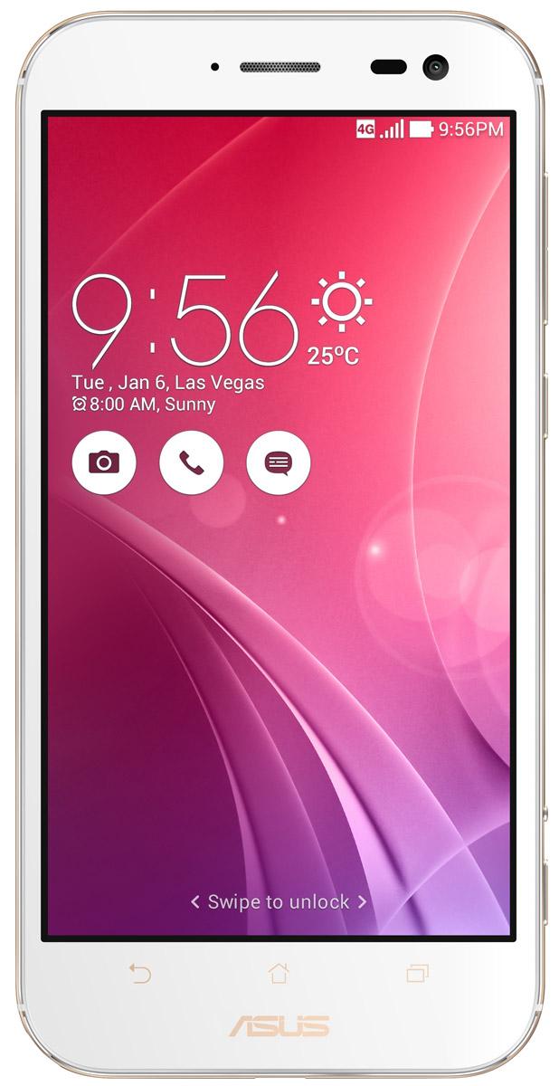 ASUS ZenFone Zoom ZX551ML, White + вспышка (90AZ00X2-M01380)90AZ00X2-M01380Asus ZenFone Zoom ZX551ML - это самый тонкий в мире смартфон с системой 3-кратного оптического увеличения. Максимальное же увеличение, доступное с его 10-элементным объективом Hoya, составляет 12 раз. ZenFone Zoom - это смартфон с классическим дизайном, выполненный в тонком (толщина от 5 мм) корпусе, основу которого составляет прочный цельнометаллический каркас. С холодным металлом контрастирует теплая кожаная отделка задней панели. Технологический процесс изготовления корпуса состоит из 201 этапа. Результатом является шедевр, с которым не хочется расставаться всю жизнь. Отличительной особенностью ZenFone Zoom является высококачественная тыловая камера с 3-кратным оптическим увеличением. В рамках технологии PixelMaster в устройстве реализовано множество функций, направленных на повышение качества фотоснимков, включая систему оптической стабилизации изображения, двухцветную вспышку Real Tone и моментальную лазерную автофокусировку, которая срабатывает всего за 0,03 с.Инновационный объектив смартфона ZenFone Zoom был создан специалистами японской фирмы Hoya, работающей в области высококачественных оптических устройств. В его состав входят 10 элементов, включая асферические и призматические линзы. Четыре линзы изготовлены из стекла, что способствует, наряду с другими инженерными решениями, повышению общего качества фото- и видеосъемки.ZenFone Zoom обладает мощной аппаратной начинкой, в которую входят четырехъядерный 64-битный процессор Intel Atom Z3590 с частотой 2,5 ГГц и целых 4 гигабайта оперативной памяти.Gorilla Glass 4 - последняя версия защитного покрытия дисплея от разработчиков Corning. Она вдвое прочнее предыдущей версии в тесте на падение, обладает в 2,5 раза большей остаточной прочностью и на 85% долговечней при ежедневном использовании.Дисплей ZenFone Zoom обладает специальным олеофобным покрытием, которое предотвращает появление жирных пятен. Более того, оно уменьшает статическое т