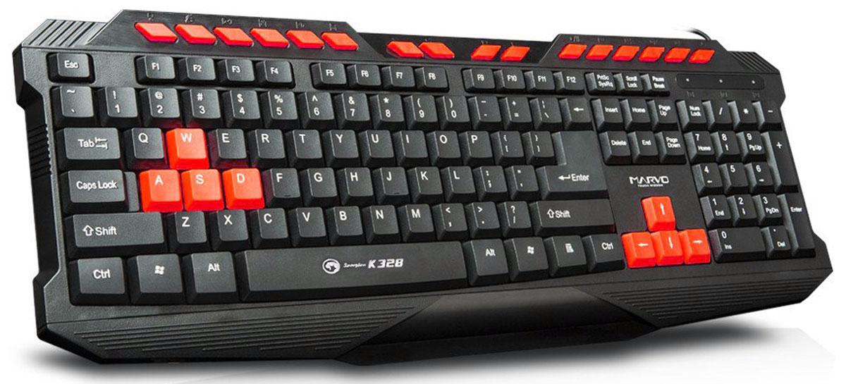 Marvo K328, Black Red игровая клавиатураK201Основная раскладка игровой клавиатуры Marvo K328 выполнена из кнопок черного цвета. При этом устройство оснащено шестью красными клавишами, акцентирующими внимание пользователя на средствах управления в компьютерных играх.Тем, кто ценит высокую скорость и точность исполнения команд в компьютерных квестах, придутся по вкусу кнопки быстрого доступа к мультимедийным и интернет-приложениям, которые значительно ускоряют процесс работы в операционной системе.Эргономичный игровой дизайн придает устройству брутальности и позиционирует владельца Marvo K328 как любителя поохотиться на зомби или побегать на заброшенной военной базе где-нибудь в Южной Америке или Африке.
