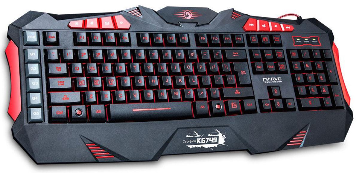 Marvo KG749, Black Red игровая клавиатура
