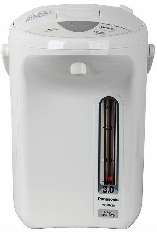 Panasonic NC-PH30ZTW термопотNC-PH30ZTWТермопот Panasonic NC-PH30ZTW сочетает в себе функции чайника и термоса, он кипятит воду и в дальнейшем поддерживает её температуру длительное время на заданном уровне.Благодаря теплоизоляционной панели, прибор не нагревается снаружи и надолго сохраняет заданные свойства воды.