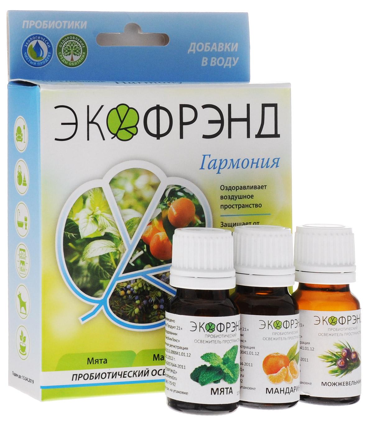 Экофрэнд Гармония пробиотический освежитель пространства мята мандарин можжевельникГАРМОНИЯЭкофренд Гармония - это экологичное пробиотическое средство - концентрат, на основе эфирного масла мяты. Средство устраняет пыль, гарь, смог, неприятные запахи, очищает воздух и создает защиту на микробиологическом уровне. Нейтрализует негативное воздействие окружающей среды и электромагнитное излучение, оздоравливает воздушное пространство. Освежитель не разрушает озоновый слой, не раздражает кожу и дыхательные пути. Эфирное масло мяты, входящее в состав, очень хорошо успокаивает и восстанавливает силы, устраняя нервное перевозбуждение и нервозность вследствие недосыпания.Устройства для применения: климатическая установка, моющий пылесос, парогенератор, распылитель, увлажнительОбласти применения: баня, автомобиль, детская, животные, гостиная, кухня, прихожая, ванная, цветы
