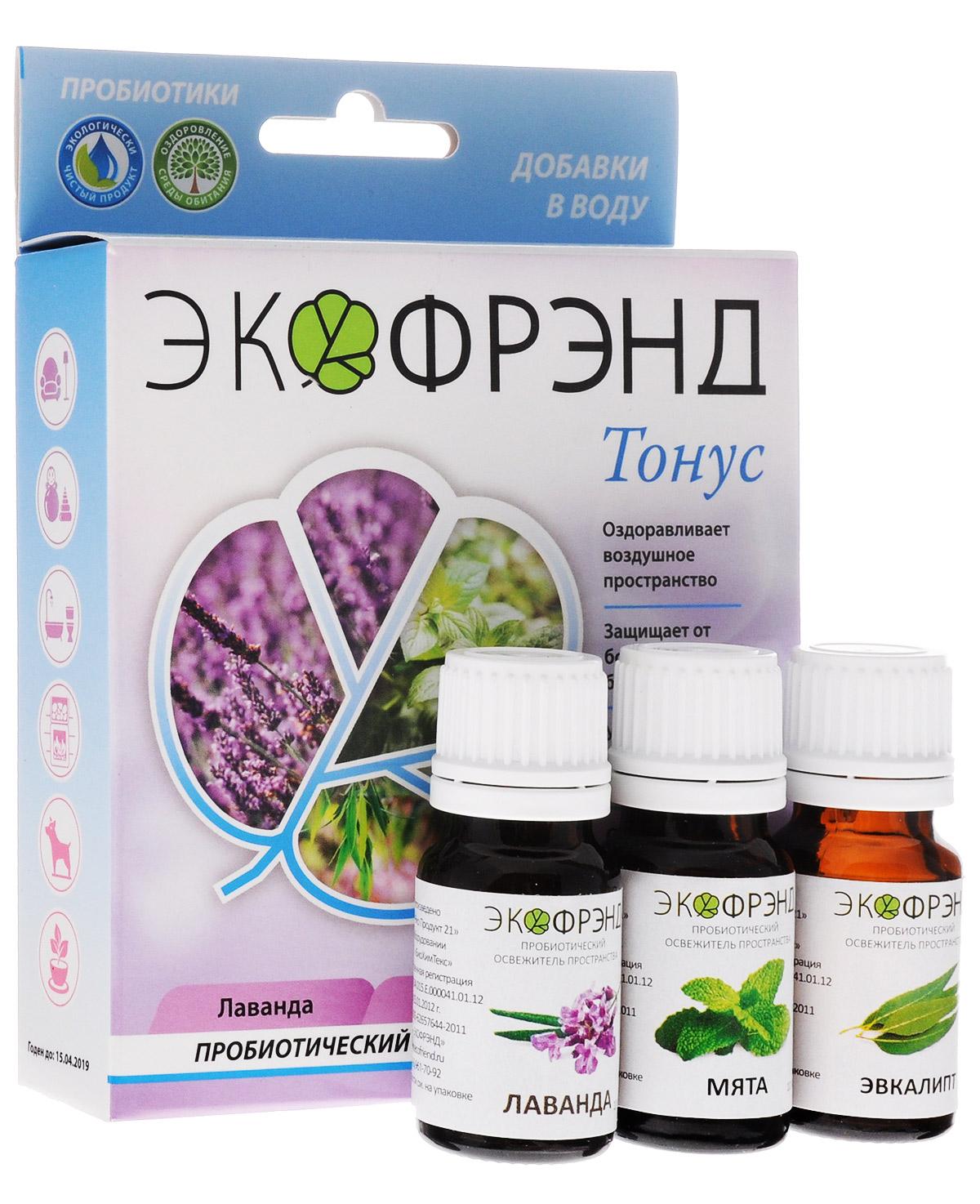 Экофрэнд Тонус пробиотический освежитель пространства Лаванда, Мята, ЭвкалиптТОНУСЭкологичное пробиотическое средство - концентрат, на основе эфирного масла лайма. Средство устраняет пыль, гарь, смог, неприятные запахи, очищает воздух и создает защиту на микробиологическом уровне. Нейтрализует негативное воздействие окружающей среды и электромагнитное излучение, оздоравливает воздушное пространство. Освежитель не разрушает озоновый слой, не раздражает кожу и дыхательные пути. «Тонус» (с эфирной компонентоймасла лайма), как и другие цитрусовые, является прекрасным антисептиком.Освежающий запах оказывает стимулирующее и тонизирующее воздействие. Подарит чувство покоя, повысит настроение и придаст оптимизма. При распылении в пространстве помещения обладает антивирусным, антисептическим, бактерицидным и жаропонижающим воздействием на человека.