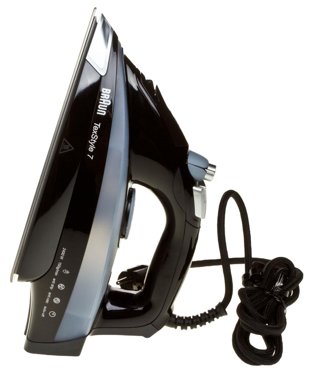 Braun TexStyle TS745A утюг0X12711022Паровой утюг Braun TexStyle TS745A обеспечивает непревзойденный результат глажения даже мелких деталей одежды. Глубоко проникающий пар разглаживает даже самые трудные участки. Высококачественная подошва в сочетании с последними технологиями и современным дизайном гарантирует максимально простое использование утюга и безупречный результат.Уникальная подошва Eloxal устойчива к царапинам, в 2 раза прочнее нержавеющей стали. Обеспечивает идеальное скольжение на всех видах тканей и гарантирует максимально простое использование утюга, а также безупречный результат.Обычно, разглаживание больше 60% складок происходит при помощи носика утюга, но обычные утюги имеют минимальное количество пара в этой области. Уникальная форма паровых отверстий утюгов Braun TexStyle TS745A позволяет выпускать пар ближе к носику – именно там, где он нужен, обеспечивая тем самым более качественный результат глажения в труднодоступных местах.Авто-отключение спустя 8 минут в вертикальном и 30 секунд в горизонтальном положении для максимально безопасного использования и энергосбережения.