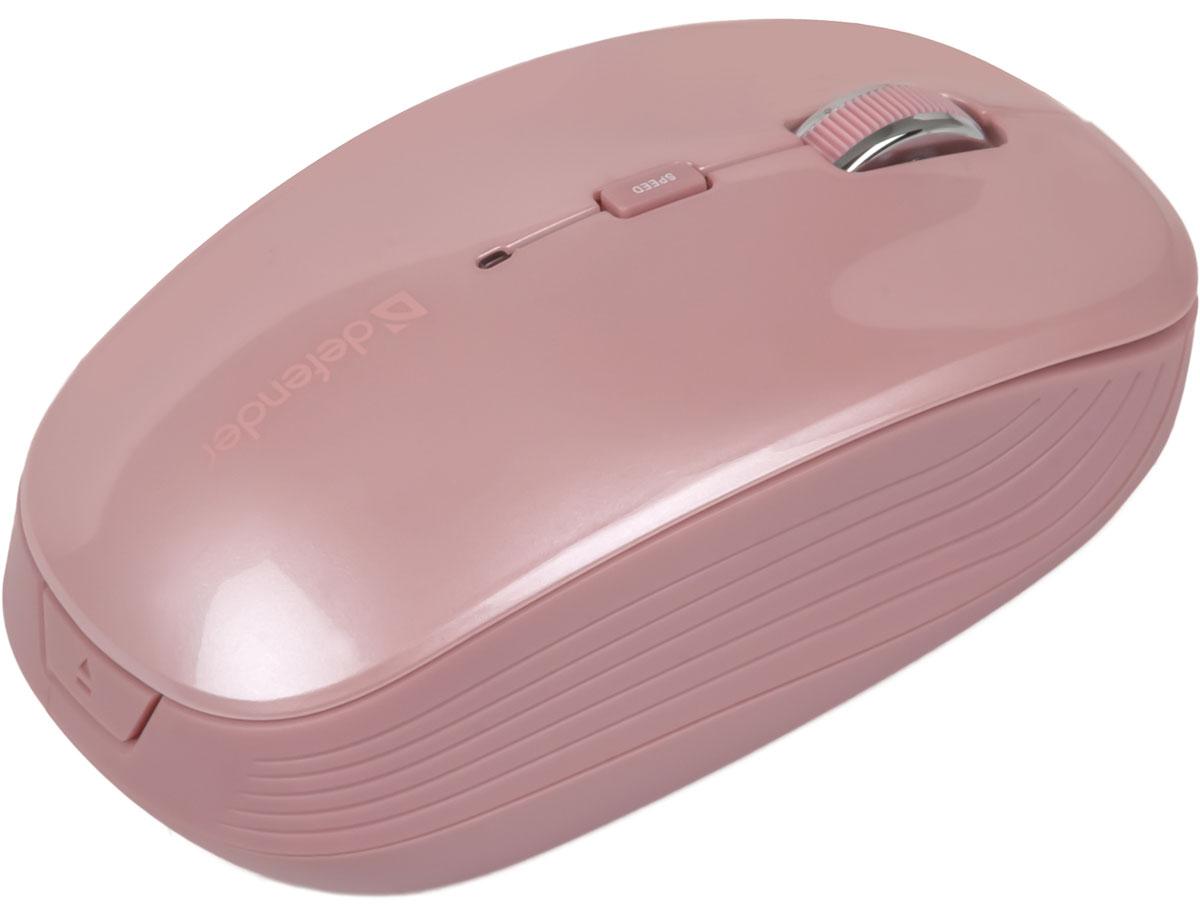 Defender Ayashi MS-325, Pink беспроводная оптическая мышь52328Специальный высокоточный сенсор Defender Accura мыши Ayashi MS-325 обеспечивает уверенную работу на неровных и рельефных поверхностях. Многофункциональное программное обеспечение Defender Quick-Point позволяет настроить кнопки под ваши задачи. Кнопка смены разрешения позволяет менять скорость курсора мыши одним нажатием (1000/1500/2000 dpi). Радиус действия беспроводной связи составляет 10 метров, что обеспечивает большую свободу действий. Приемник поддерживает одновременное подключение до 5 устройств.