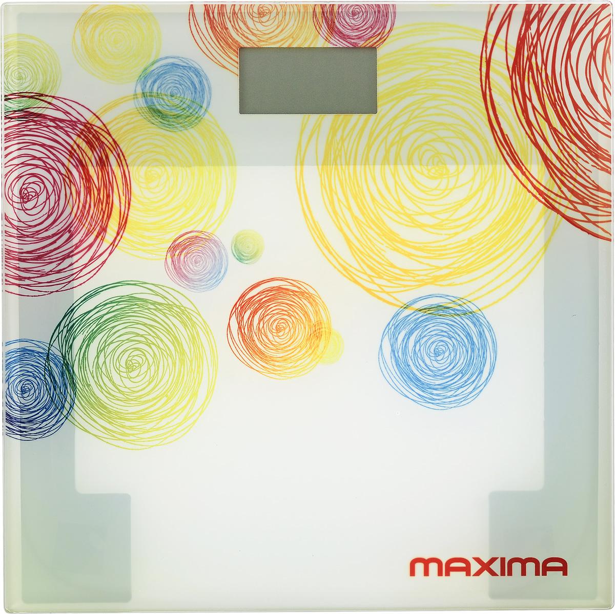 Maxima МS-017 Круги весы напольныеМS-017 кругиСтильные и функциональные, напольные весы Maxima МS-017 идеальны для тех, кто следит за своей физической формой. Платформа из прочного пластика, удобный ЖК-дисплей, индикация низкого заряда батареи делают работу с этими весами удобной и легкой. Благодаря четырем высокочувствительным датчикам достигается максимальная точность измерения до 100 г. Вы можете выбрать единицы измерения - килограммы, фунты и стоуны.Ультратонкий дизайн 18 ммРазмер дисплея 72 х 35 мм