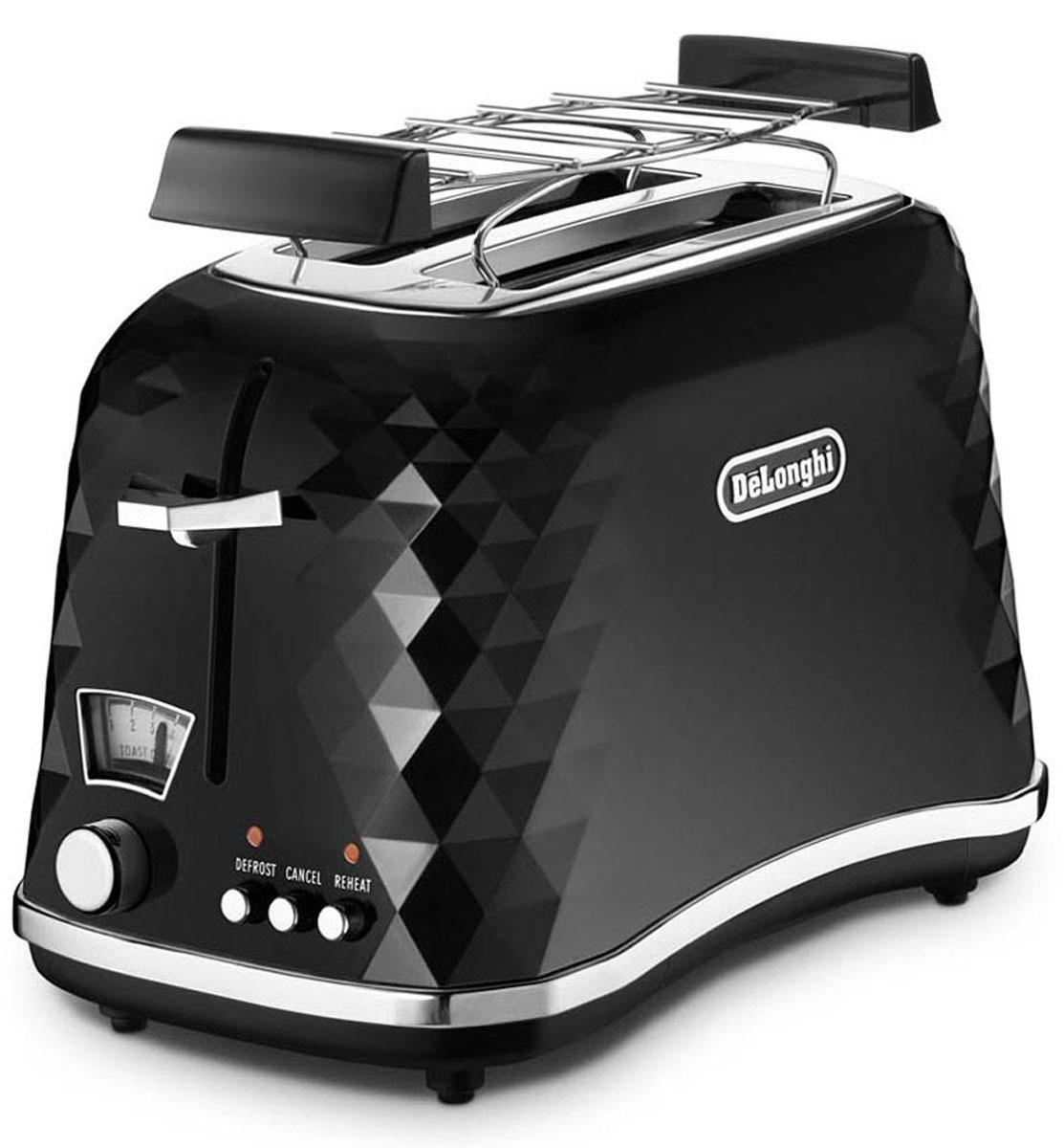 DeLonghi Brillante CTJ2103.BK, Black тостер0176129039Тостер DeLonghi Brillante CTJ2103 идеально подходит для поджаривания хлеба на завтрак или на закуску. Экстра подъем упрощает извлечение маленьких кусочков хлеба. Поддон для крошек является съемным, что облегчает чистку тостера. Решетка для подогрева булочек и круасанов в комплекте.