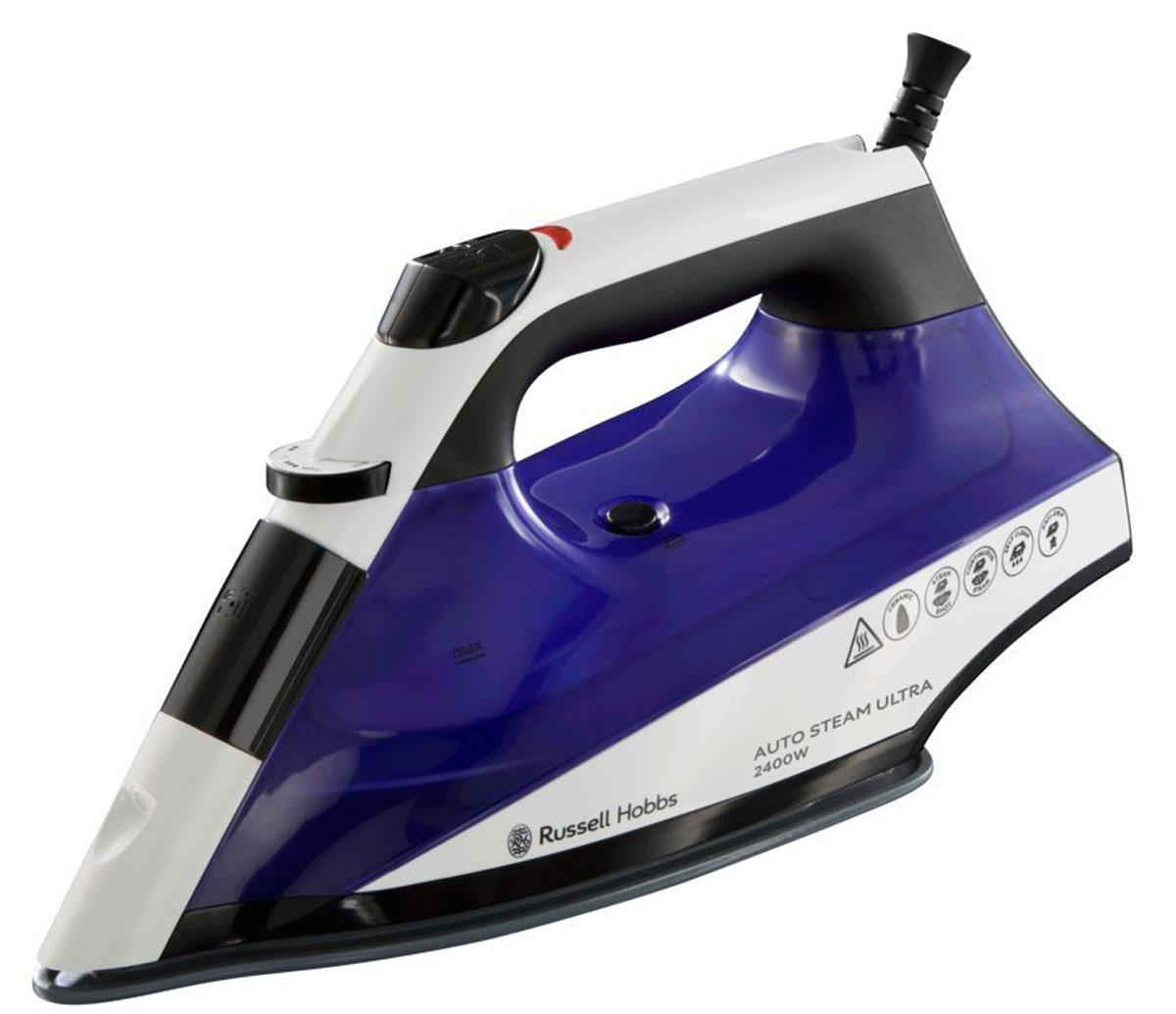 Russell Hobbs 22523-56, Purple White утюг22523-56Утюг AutoSteam Ultra - утюг нового поколения, который творит чудеса в глажении. Функция автоматической регулировки подачи пара в соответствии с выбранным температурным режимом обеспечит быстрое и эффективное глажение как грубых материалов, так и деликатных тканей. Утюг спроектирован и произведен для того, чтобы доставить вам удовольствие от качественного глажения. Объемный резервуар для воды 320 мл, паровой удар 130 г для разглаживания сложных складок и постоянный пар 45 г для глажения хлопковых тканей. Керамическая подошва имеет систему равномерного распределения пара и нагрева до установленной температуры. Благодаря керамическому покрытию, подошва идеально скользит по любой ткани.