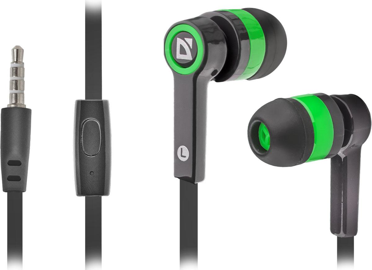 Defender Pulse 420, Black Green гарнитура63422Defender Pulse 420 - отличный выбор для повседневного использования, в том числе, в общественном транспорте, на улице и в шумных помещениях, благодаря хорошей звукоизоляции. Гарнитура имеет встроенный пульт и микрофон для быстрого переключения между музыкой и вызовами. Подключив её к своему смартфону или планшету вы сможете не только наслаждаться любимой музыкой, но и с легкостью ответить на звонок, не доставая гаджет. Плоский кабель устойчив к запутыванию.