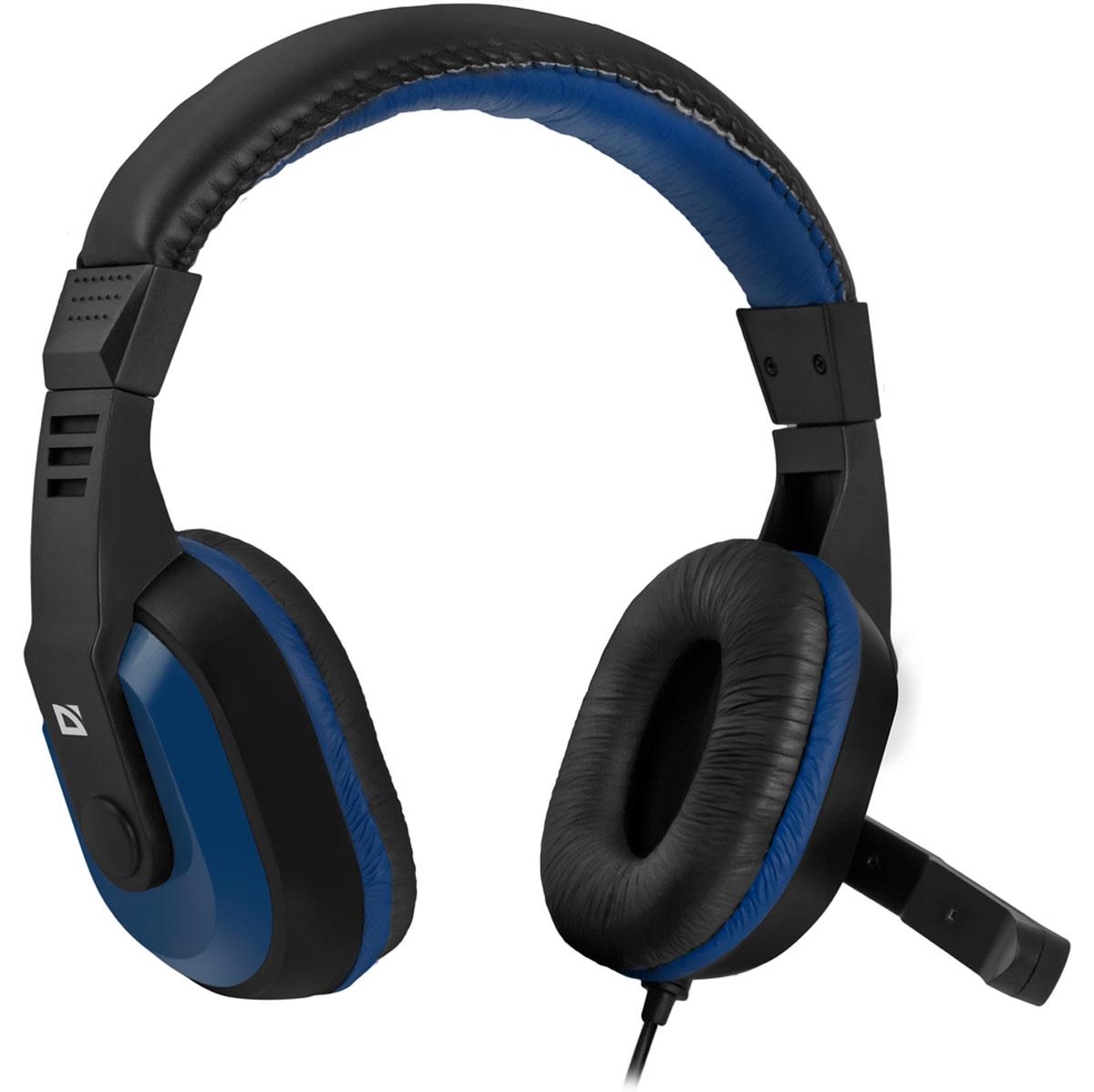 Defender Warhead G-190, Blue Black игровая гарнитура64116Игровая гарнитура Defender Warhead G-190 предназначена для компьютеров нового поколения, использующих комбинированный четырехпиновый разъем для наушников и микрофона. Наушники закрытого типа с большими 40 мм динамиками гарантируют мощный чистый звук. На кабеле гарнитуры удобно расположен регулятор громкости. Благодаря надежной звукоизоляции и комфортным амбюшурам вы сможете играть или слушать музыку с комфортом - ничто не будет вам мешать!Частотный диапазон микрофона: 20 Гц - 16 кГцСопротивление микрофона: 2,2 кОмаЧувствительность микрофона: 54 дБ