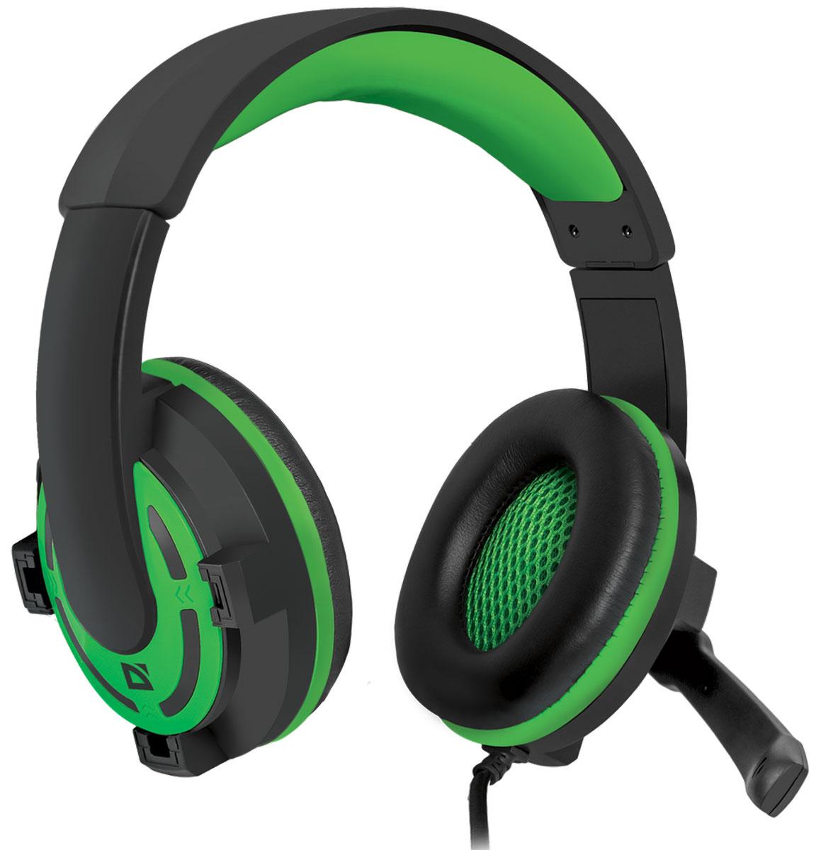 Defender Warhead G-300, Green игровая гарнитура64128Наушники закрытого типа Defender Warhead G-300 с большими 40 мм динамиками гарантируют мощный чистый звук. На кабеле гарнитуры удобно расположен регулятор громкости. Благодаря надежной звукоизоляции и комфортным амбушюрам вы сможете играть или слушать музыку с комфортом - ничто не будет вам мешать!Частотный диапазон микрофона: 20 Гц - 16 кГцСопротивление микрофона: 2,2 кОмаЧувствительность микрофона: 54 дБ